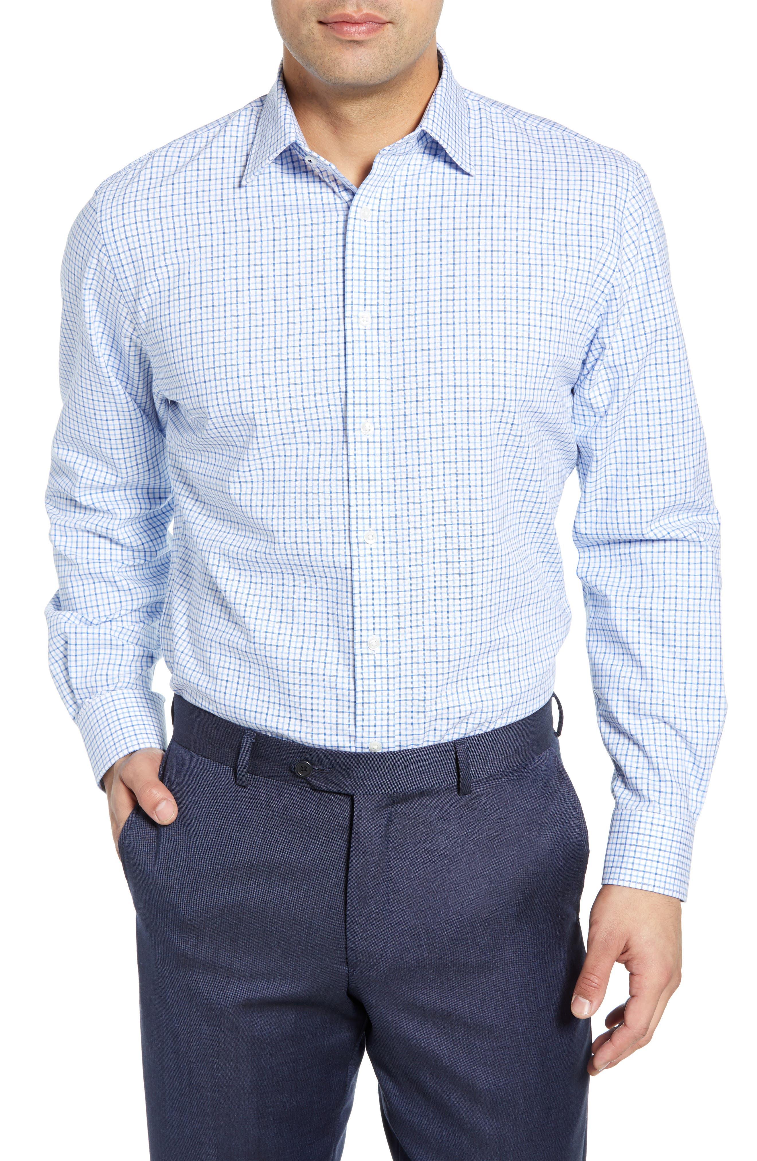 NORDSTROM MEN'S SHOP,                             Tech-Smart Traditional Fit Check Stretch Dress Shirt,                             Main thumbnail 1, color,                             BLUE VICTORIA