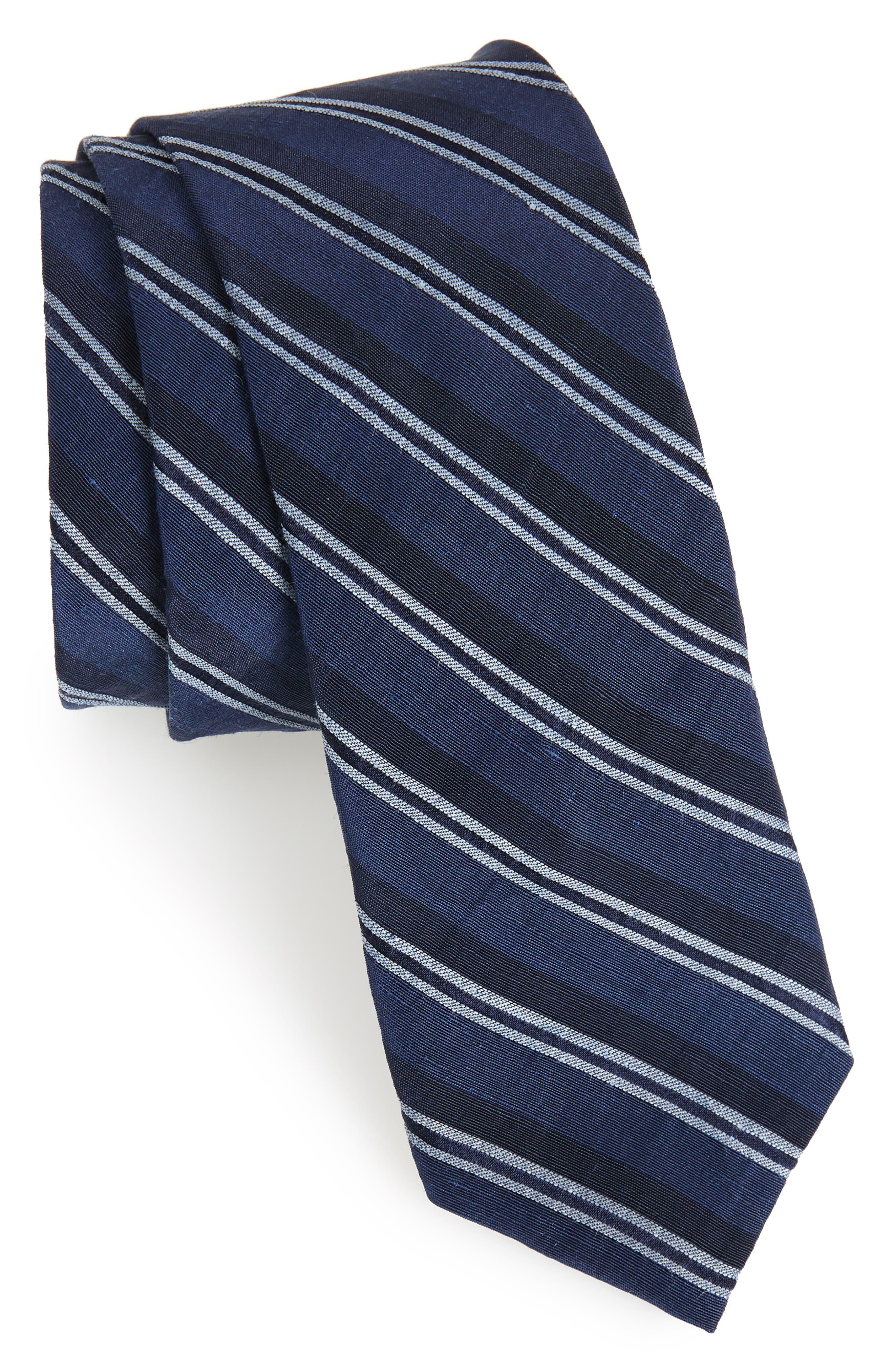 Stripe Linen & Silk Tie,                             Main thumbnail 1, color,