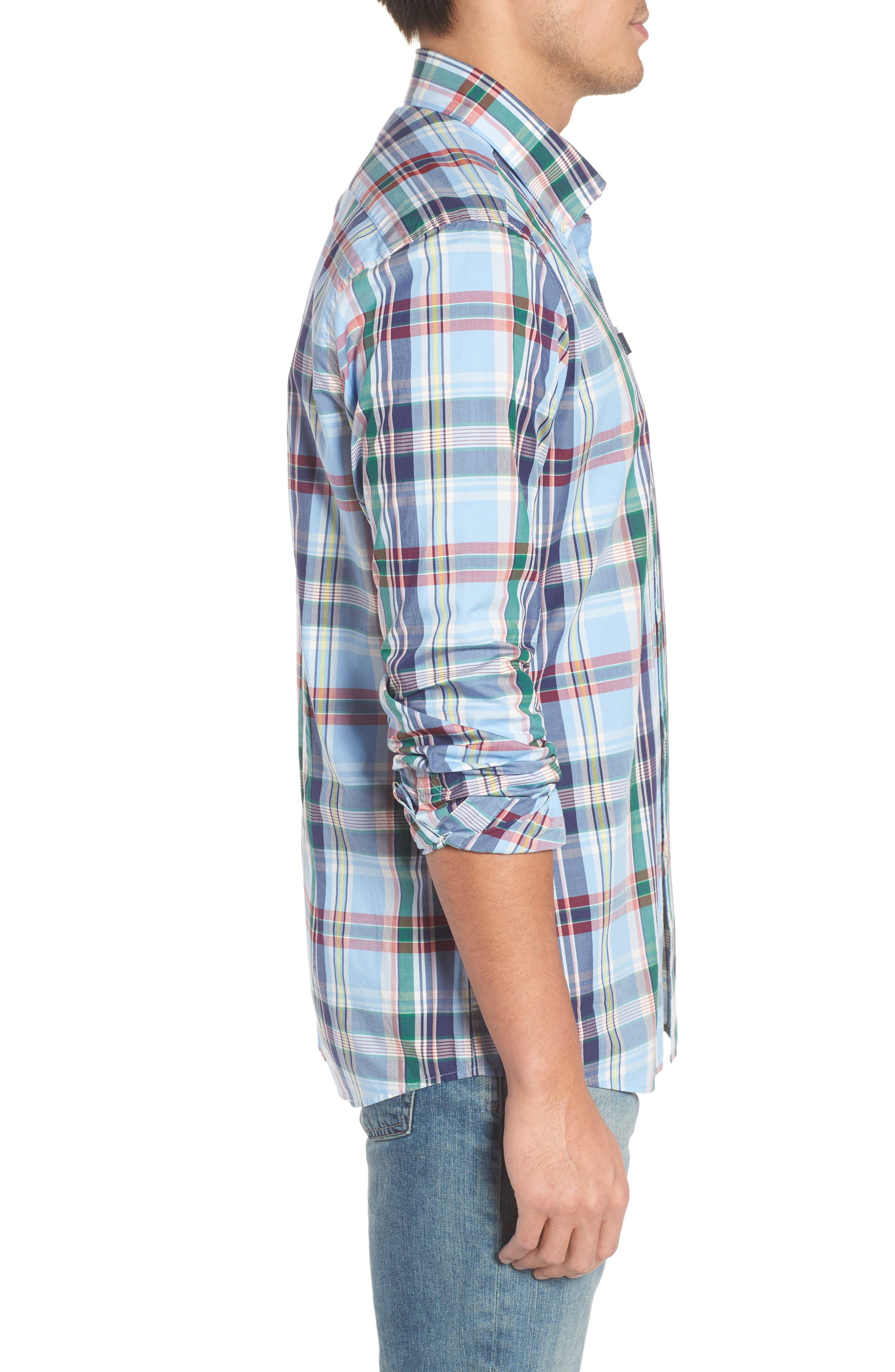 Jeff Trim Fit Plaid Sport Shirt,                             Alternate thumbnail 3, color,                             450