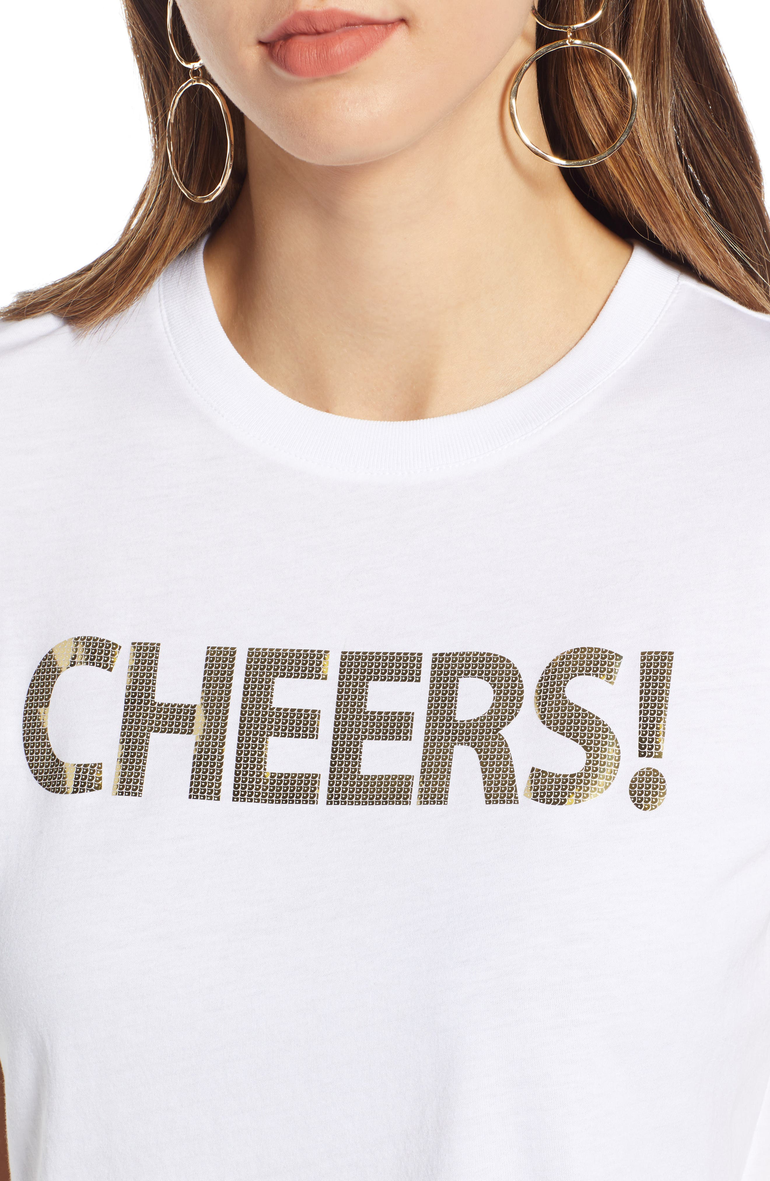 Short Sleeve Graphic Tee,                             Alternate thumbnail 4, color,                             WHITE- GOLD CHEERS