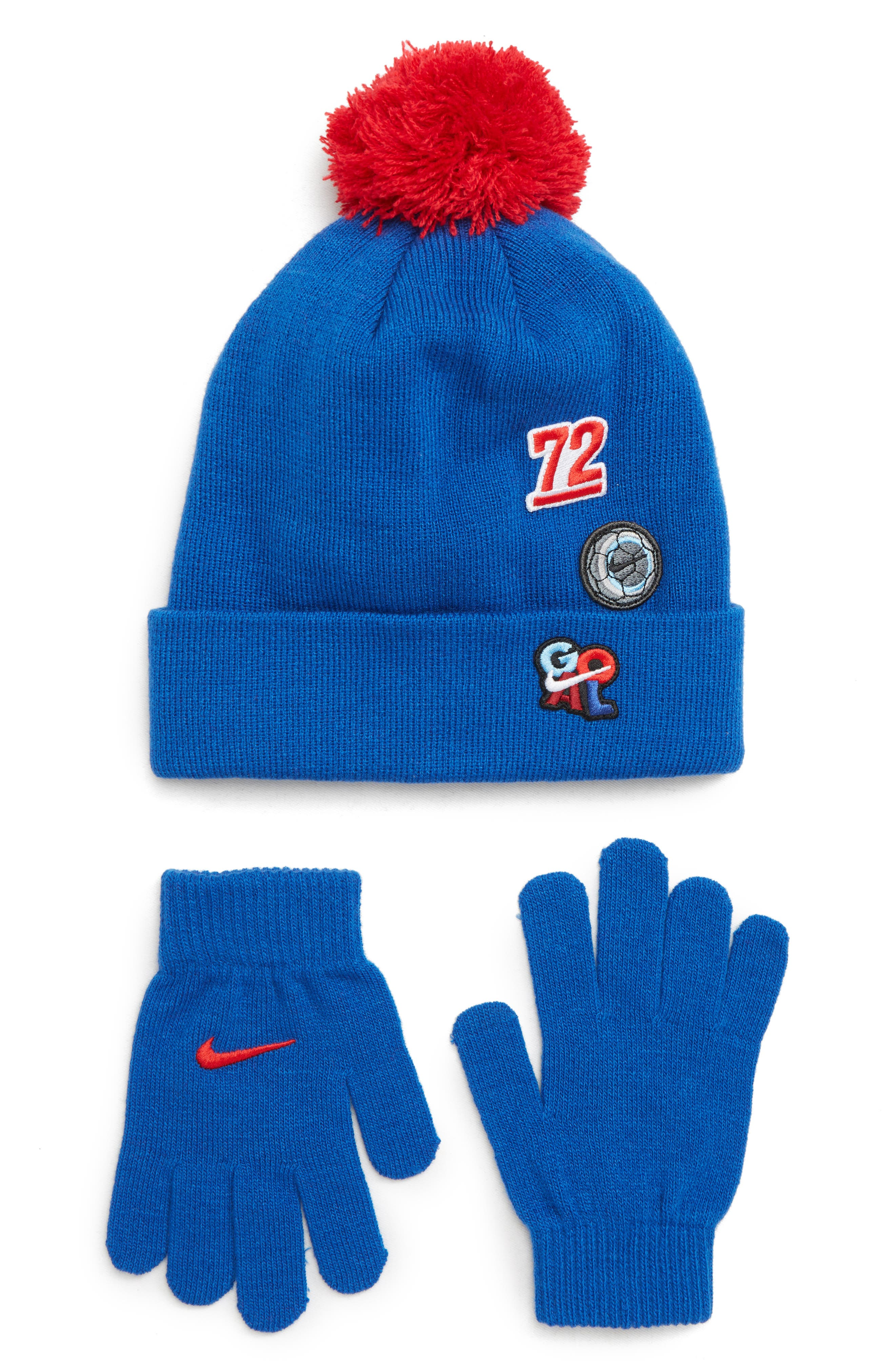 Patch Pom Beanie & Gloves Set,                             Main thumbnail 1, color,                             GAME ROYAL