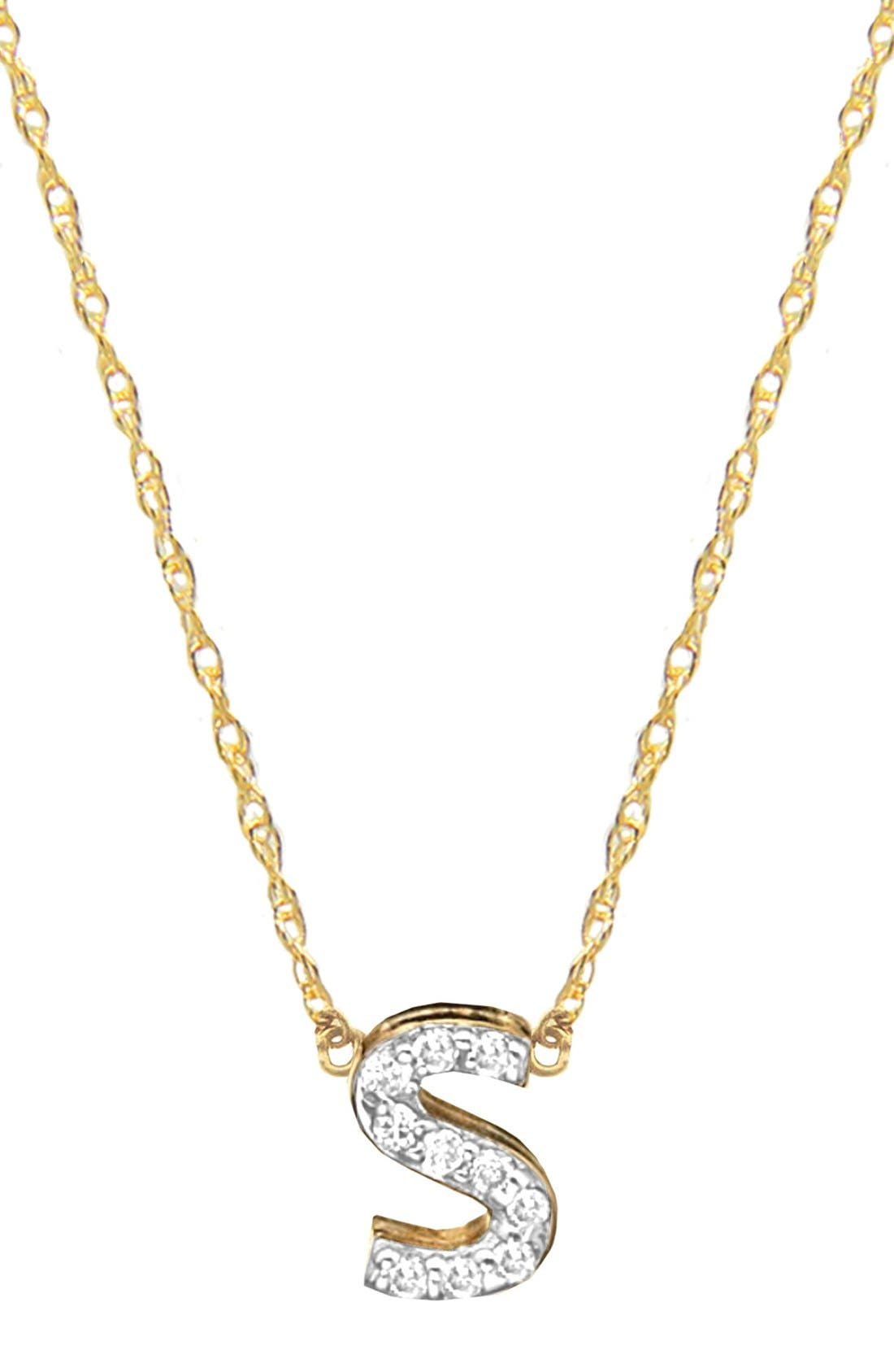 Jane Basch Diamond Initial Pendant Necklace,                             Main thumbnail 1, color,                             GOLD - S