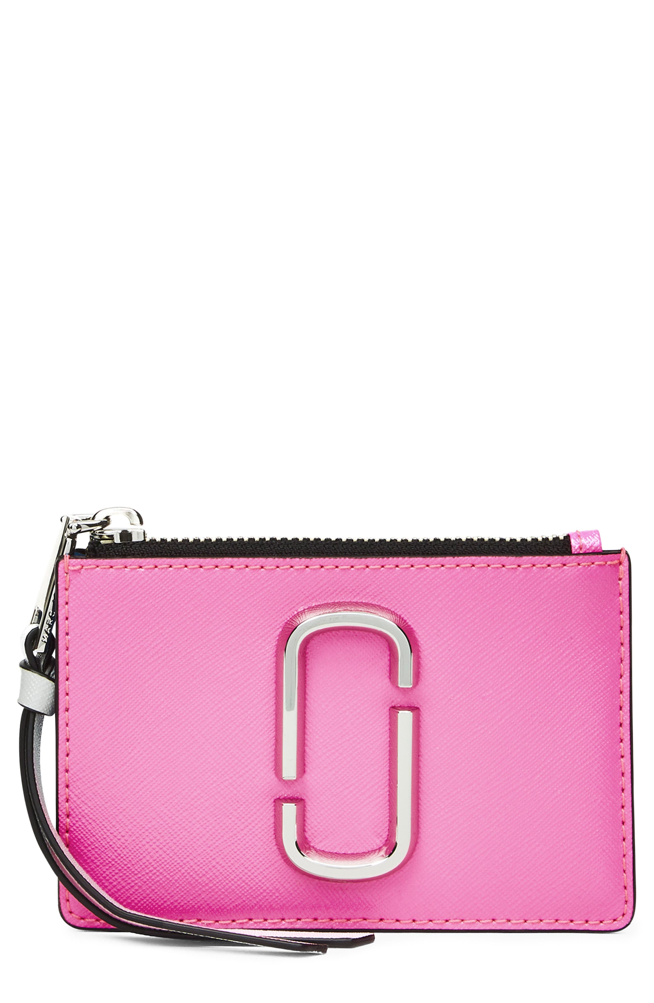 Snapshot Small Leather Wallet,                             Main thumbnail 1, color,                             BRIGHT PINK MULTI
