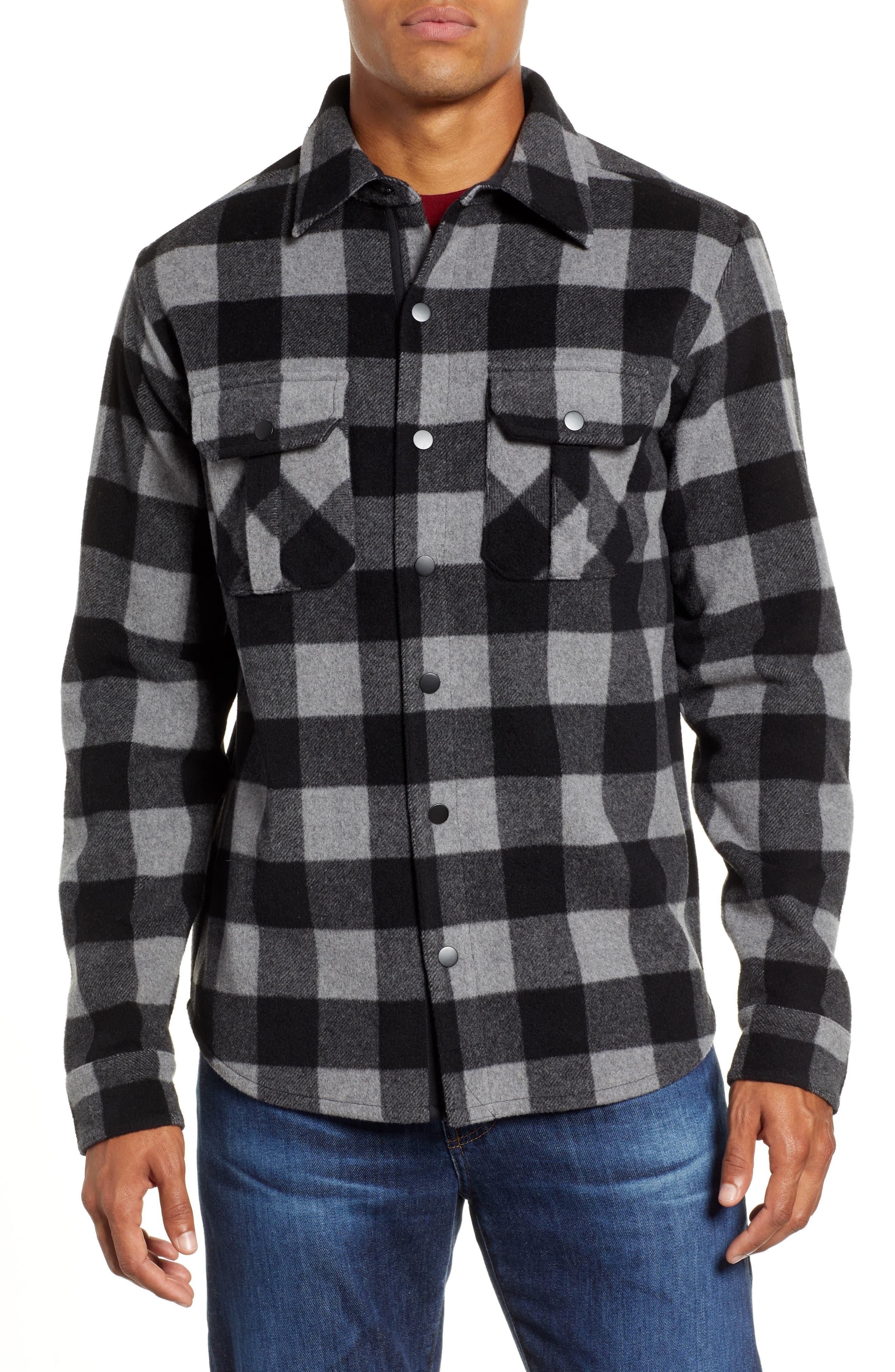 Anchor Line Flannel Shirt Jacket,                             Alternate thumbnail 2, color,                             MEDIUM GREY