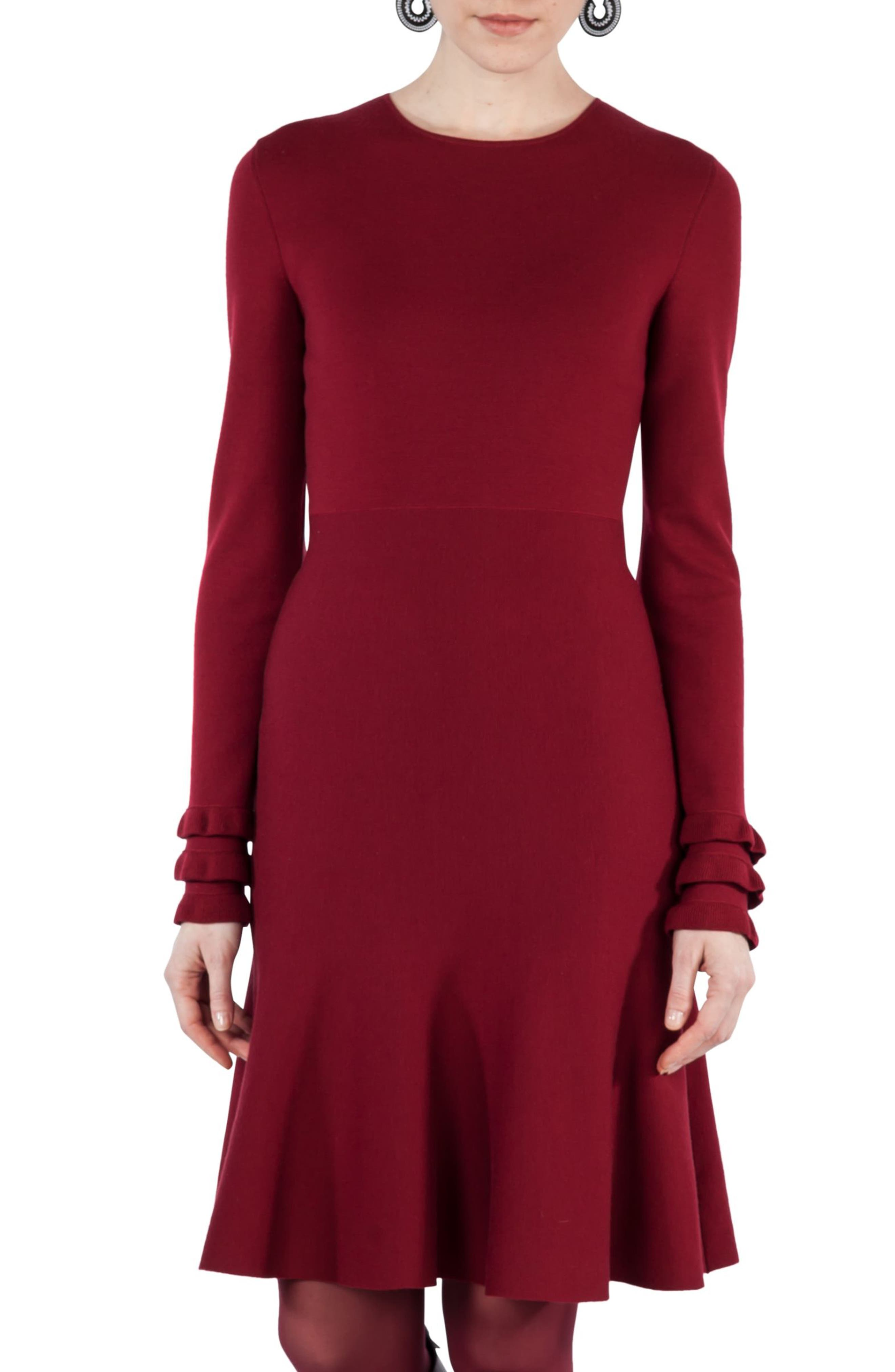 Knit Stretch Wool Dress,                             Alternate thumbnail 4, color,                             930