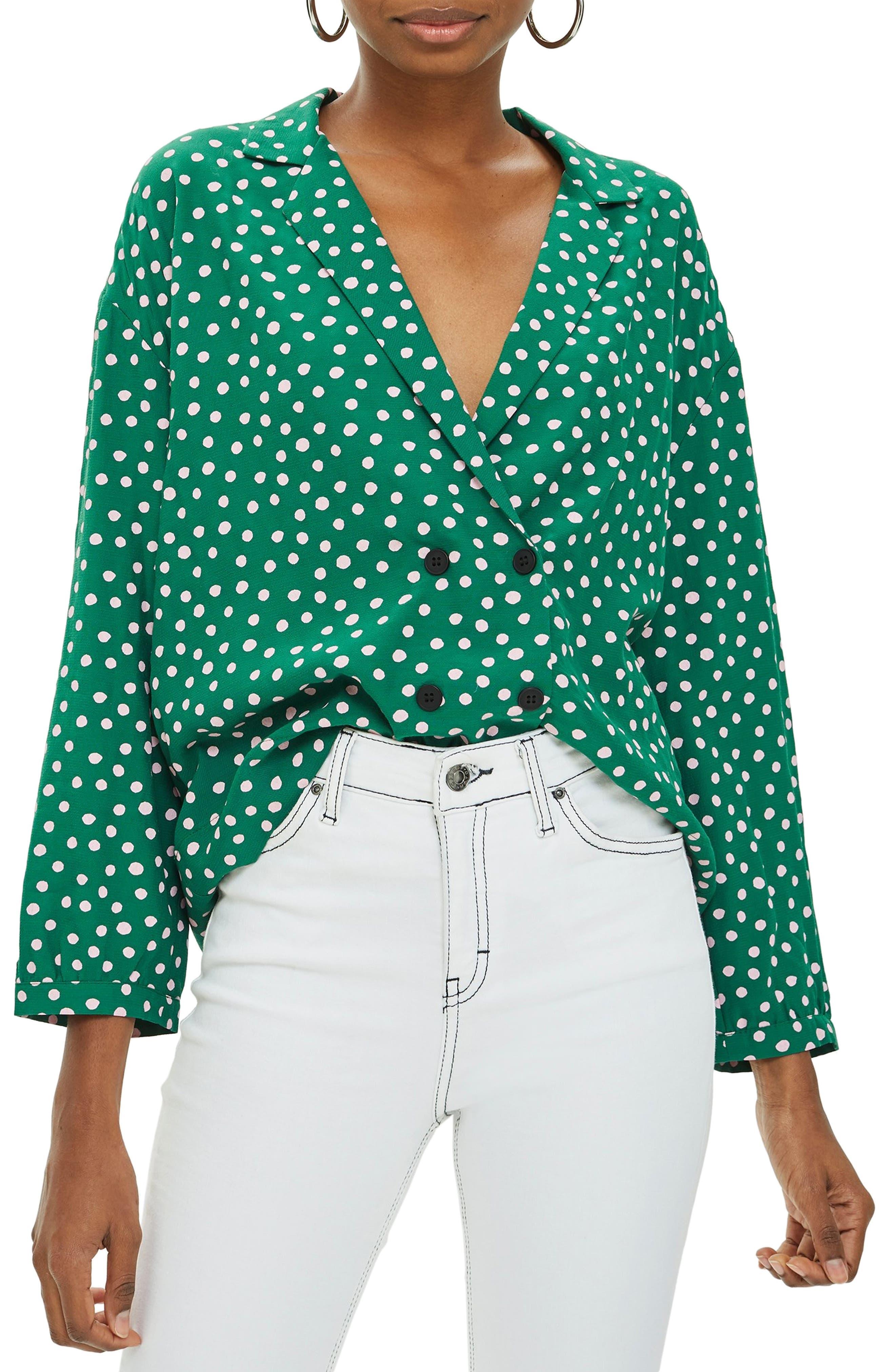 Taylor Button Down Blouse,                         Main,                         color, GREEN MULTI