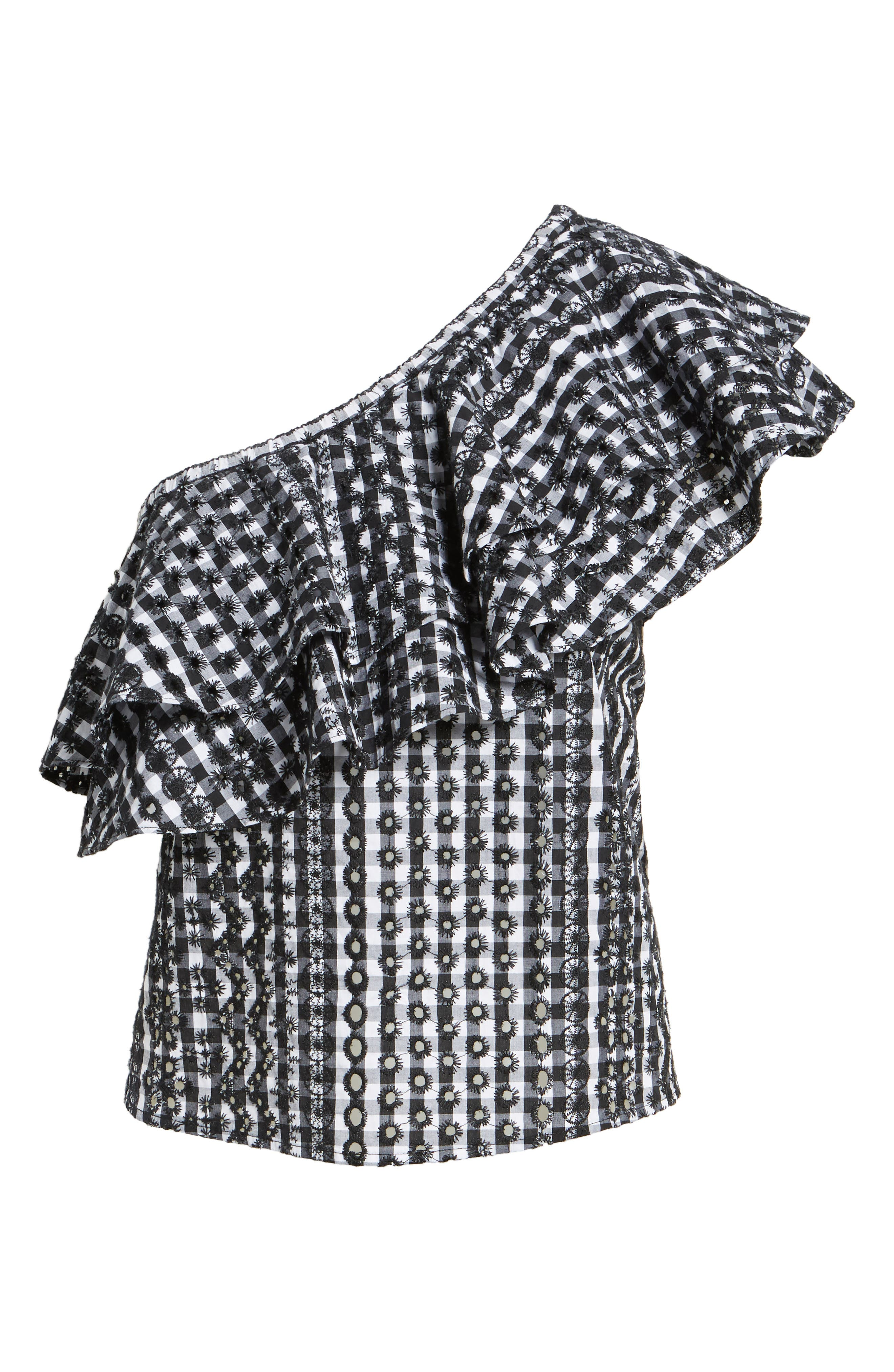 Lily Eyelet Gingham Top,                             Alternate thumbnail 6, color,                             004
