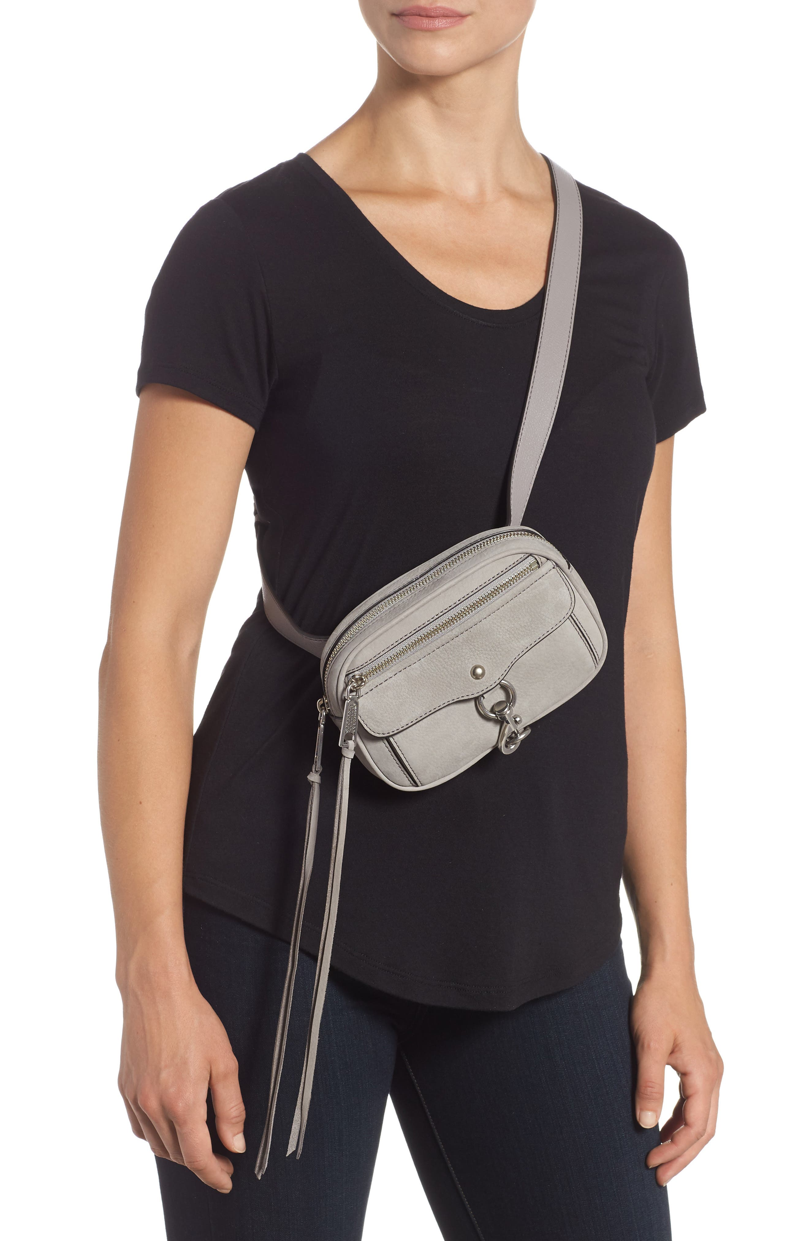 Blythe Leather Belt Bag,                             Alternate thumbnail 3, color,                             GREY