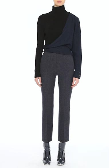Tweed Jersey & Knit Turtleneck Sweater, video thumbnail