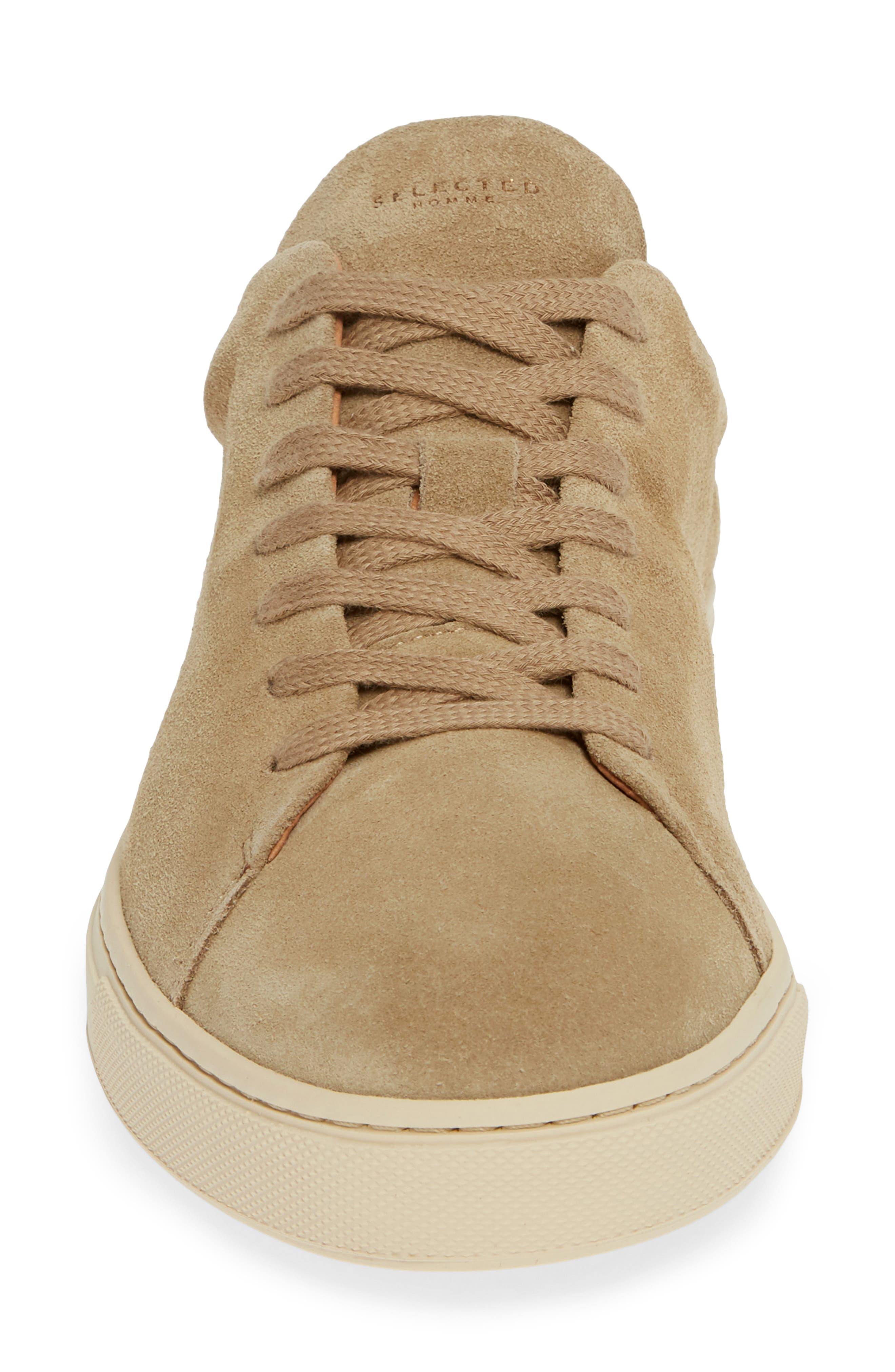 Selected Home David Low Top Sneaker,                             Alternate thumbnail 4, color,                             SAND SUEDE