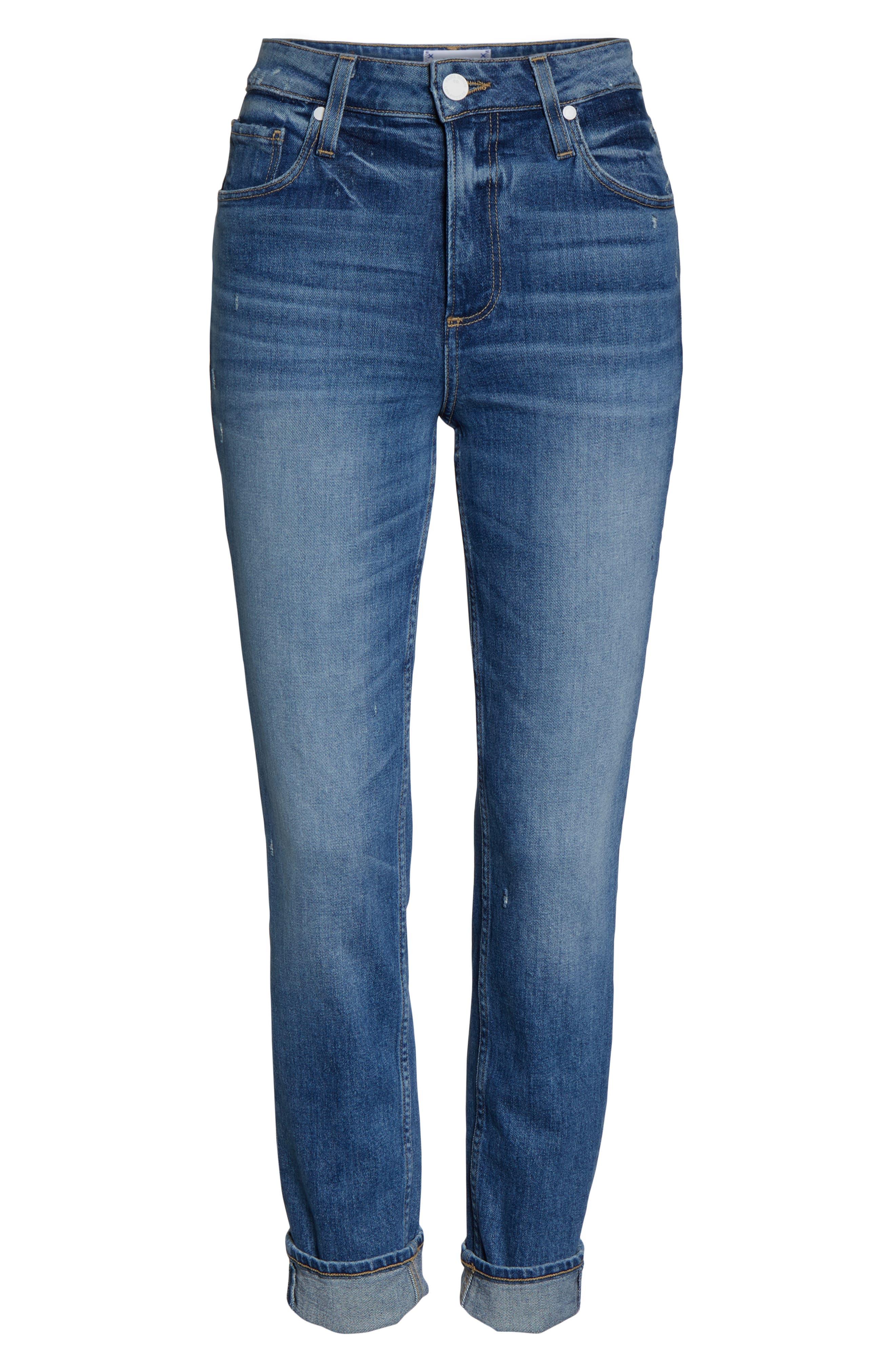 Sarah High Waist Straight Slim Leg Jeans,                             Alternate thumbnail 6, color,                             EMBARCADERO
