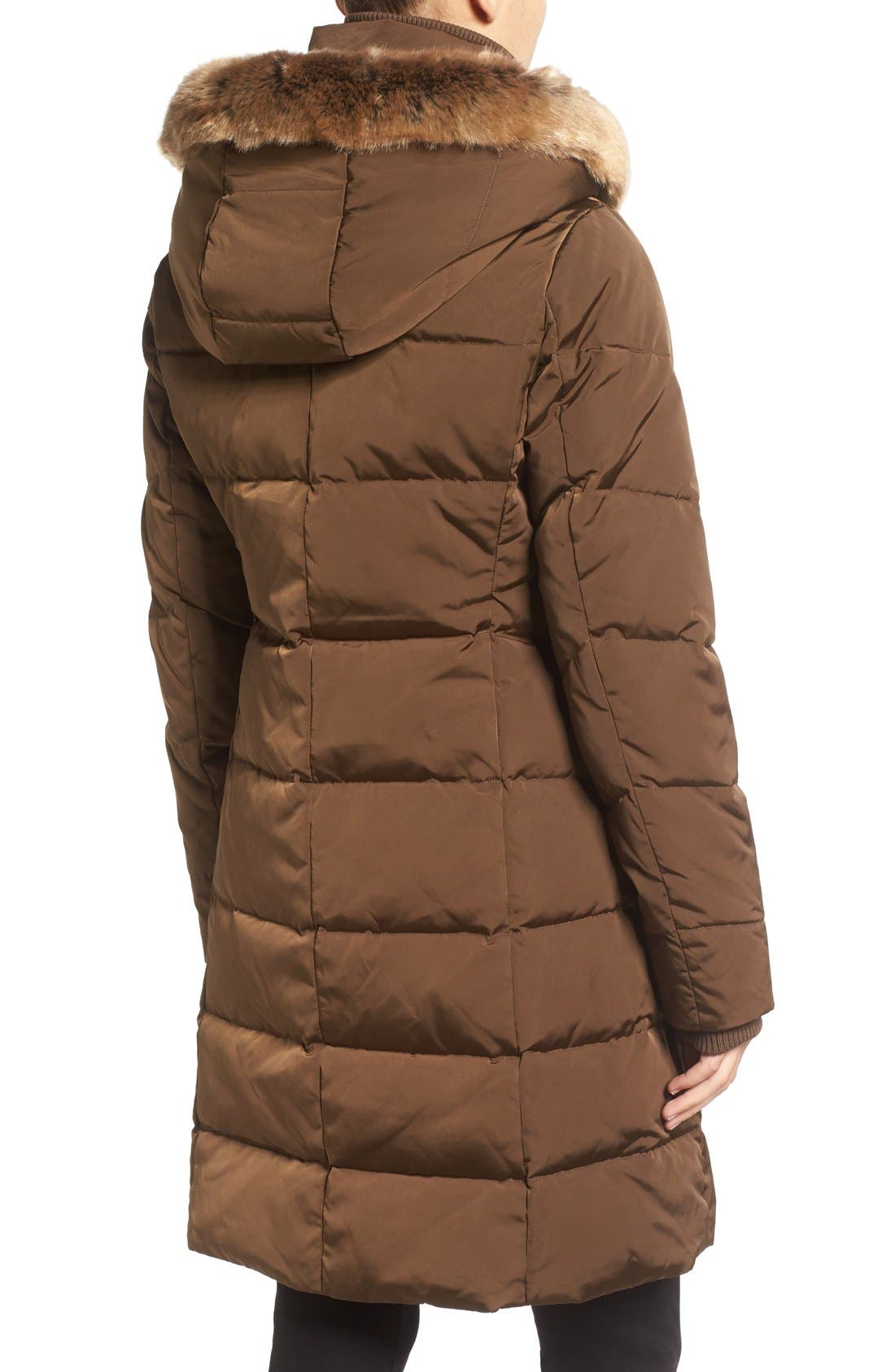 Down & Feather Fill Coat with Faux Fur Trim Hood,                             Alternate thumbnail 10, color,