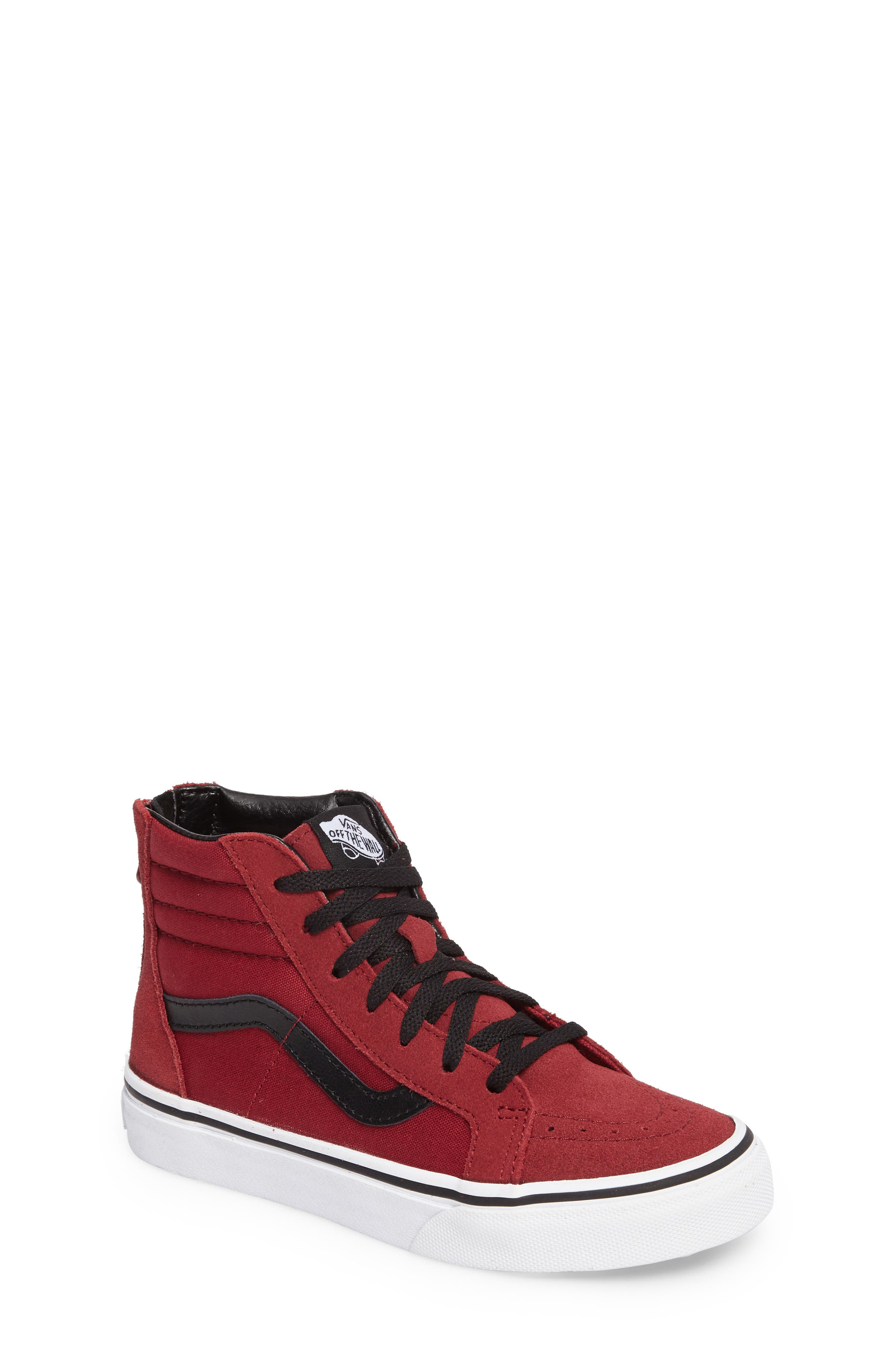 SK8-Hi Zip Sneaker,                             Main thumbnail 1, color,                             TIBETAN RED/ BLACK