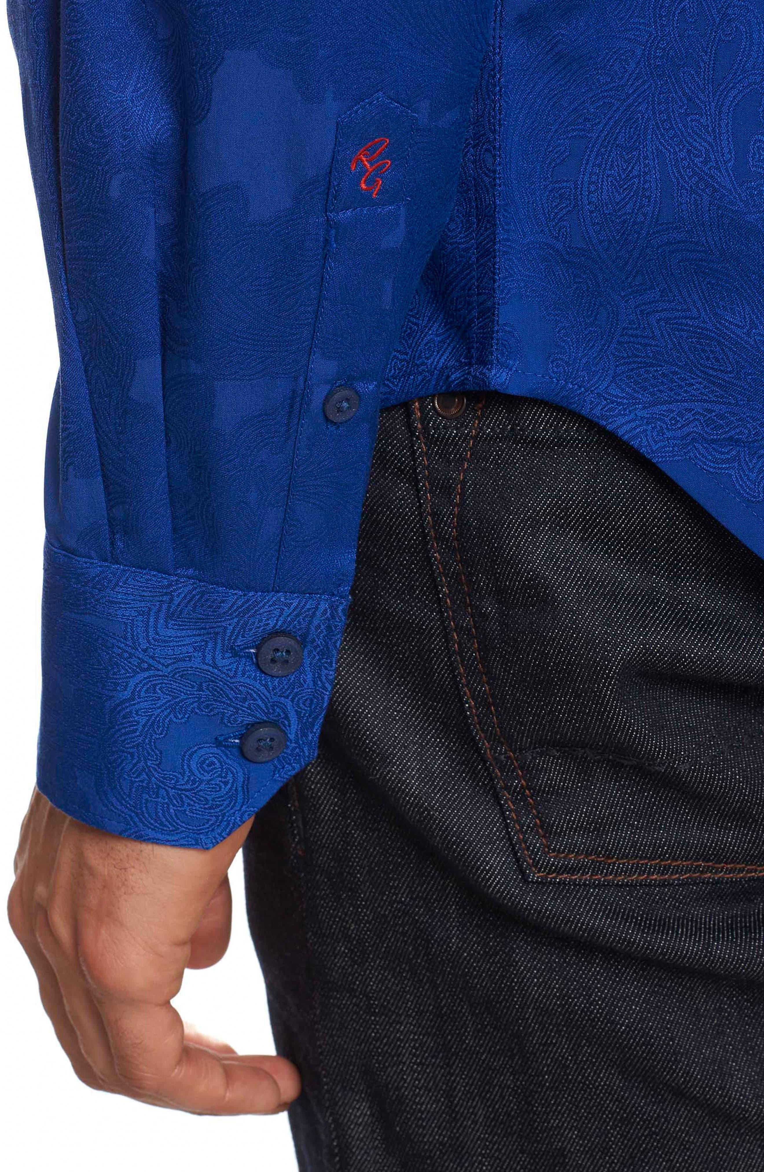 Rosendale Classic Fit Jacquard Sport Shirt,                             Alternate thumbnail 3, color,                             432