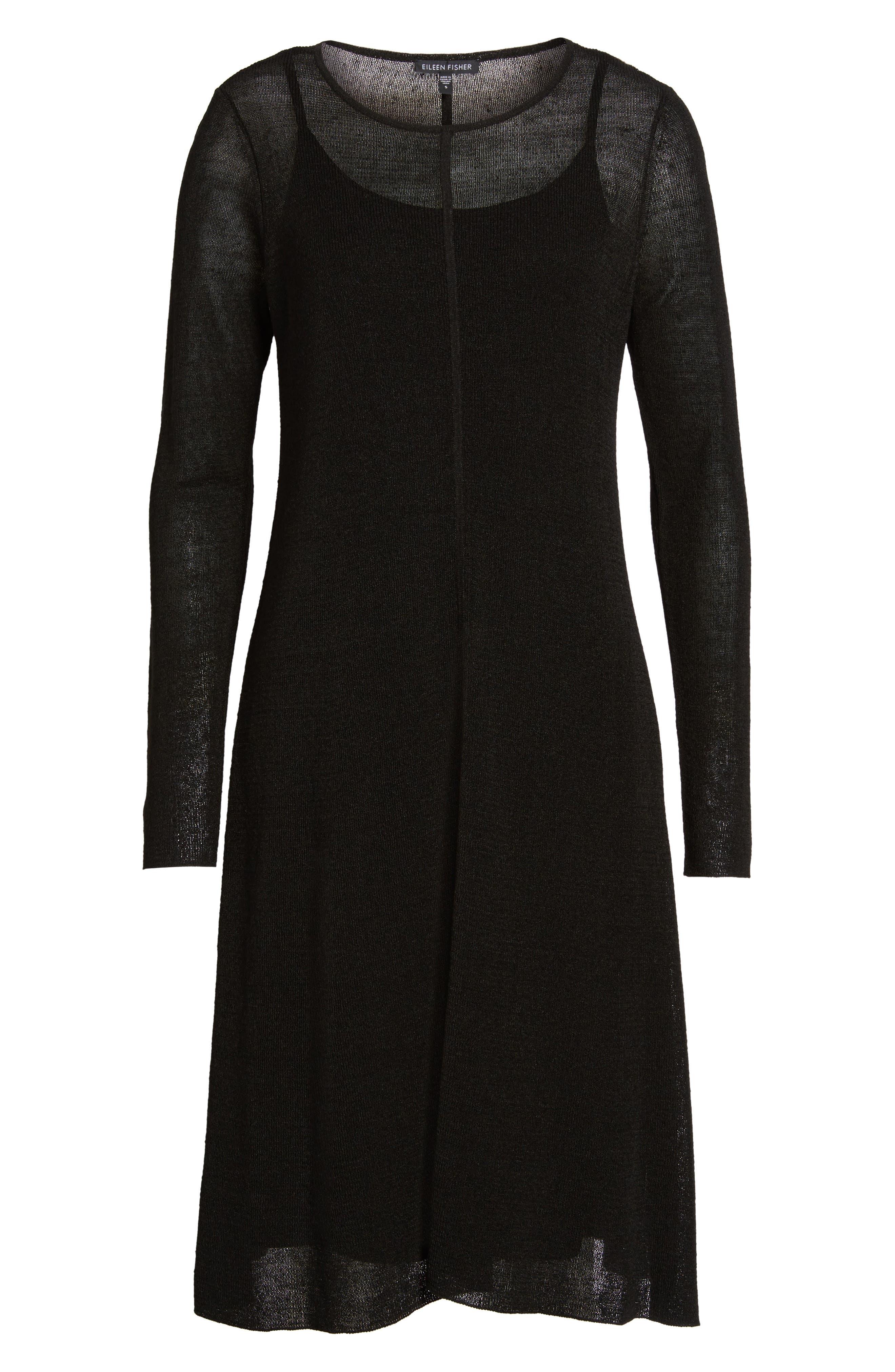 Organic Linen Blend A-Line Dress,                             Alternate thumbnail 6, color,                             001