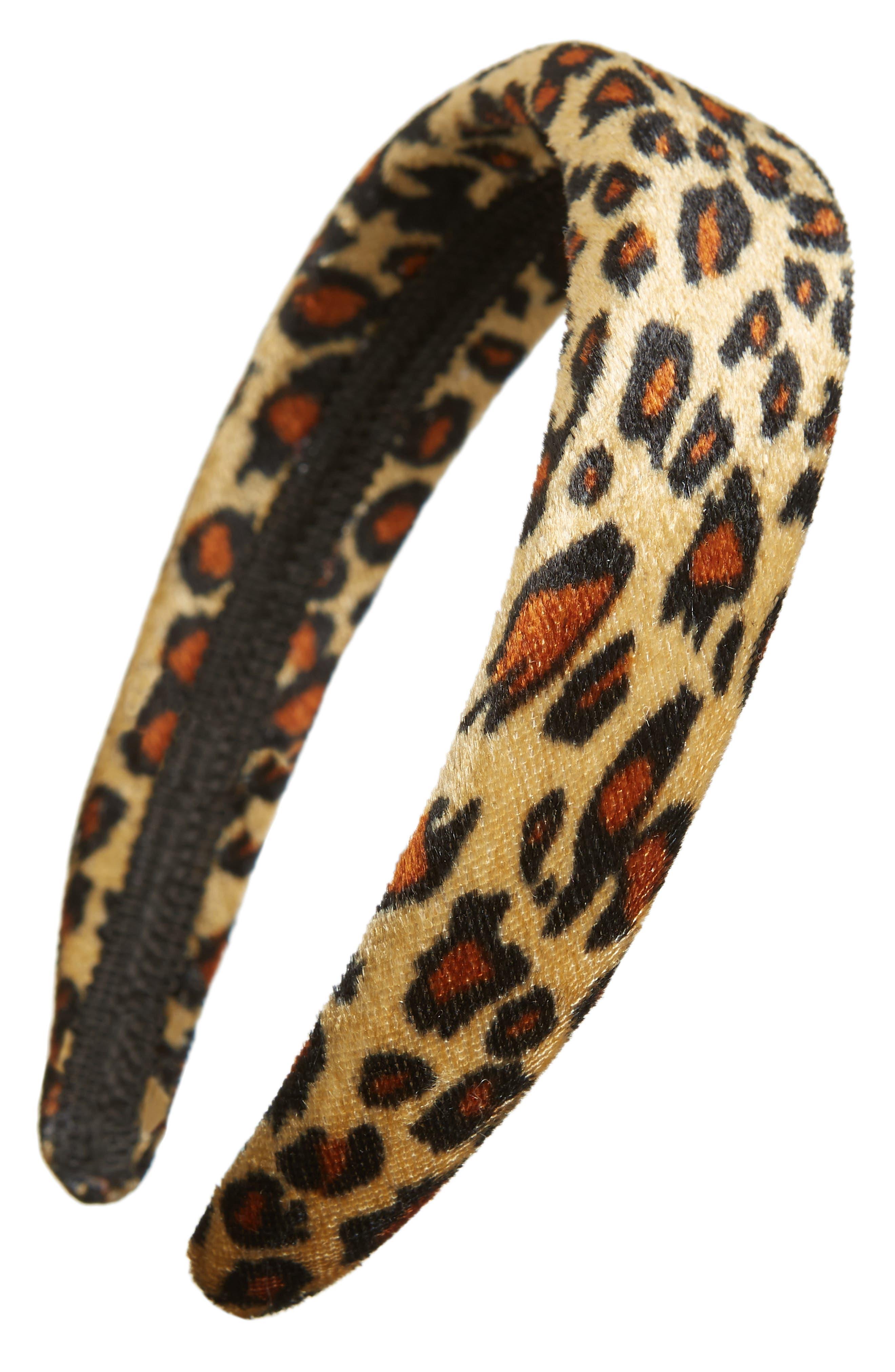 Velvet Headband,                         Main,                         color, LEOPARD