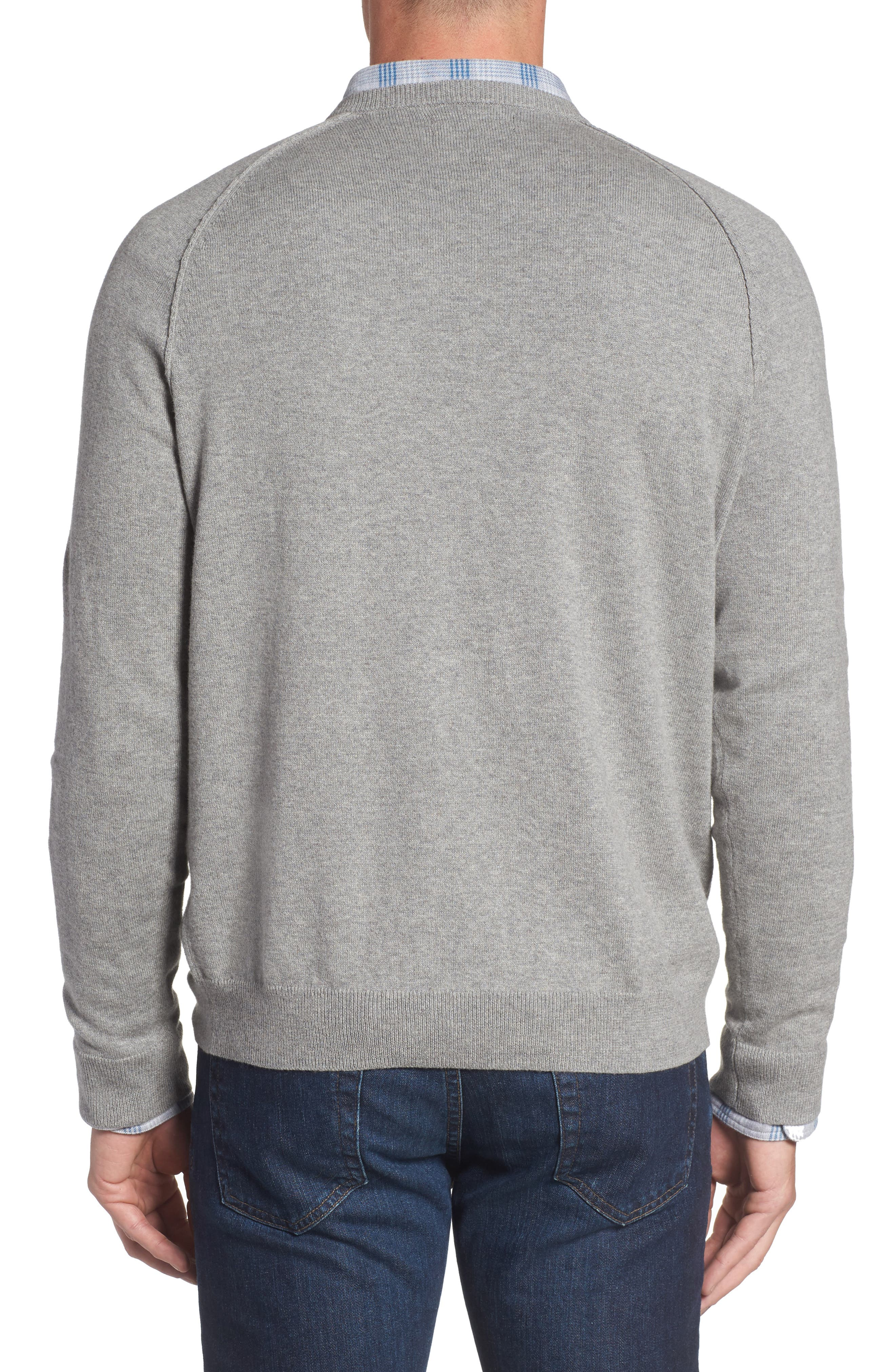 Saddle Shoulder Cotton & Cashmere V-Neck Sweater,                             Alternate thumbnail 12, color,