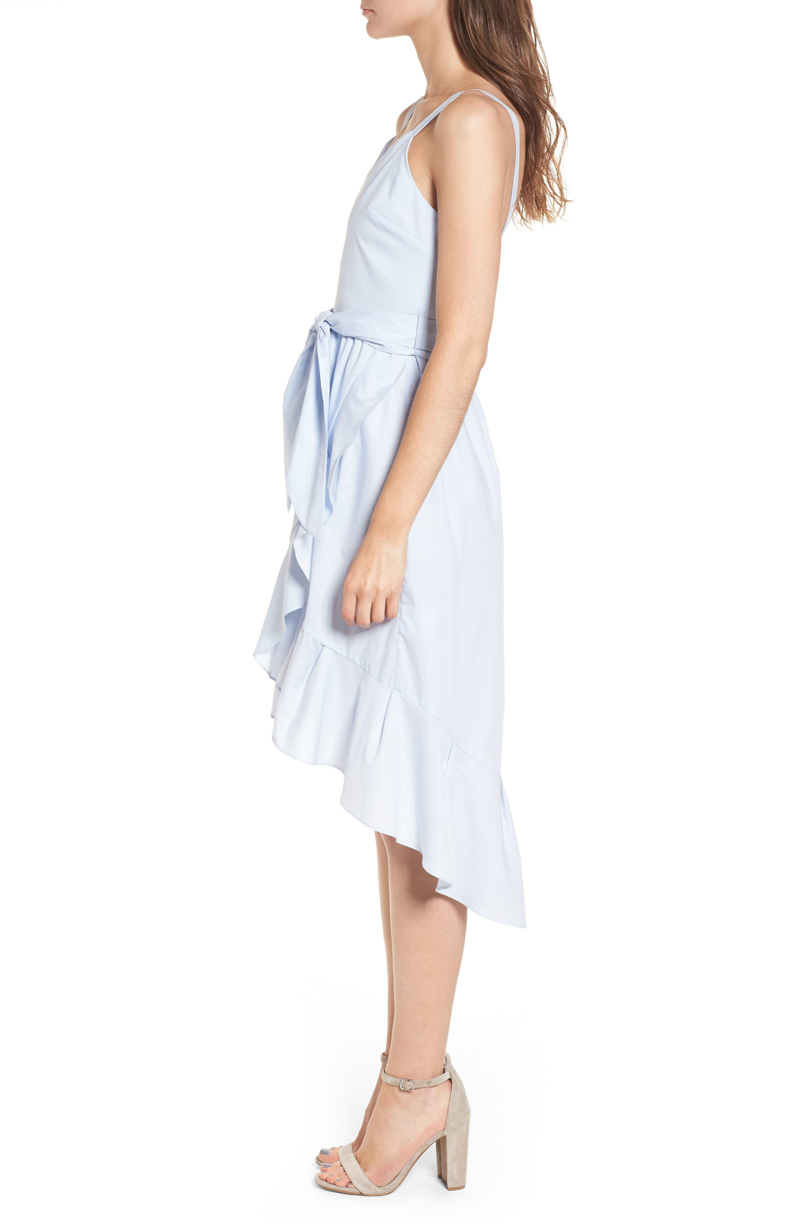 Poplin Tie Waist Dress,                             Alternate thumbnail 3, color,                             400