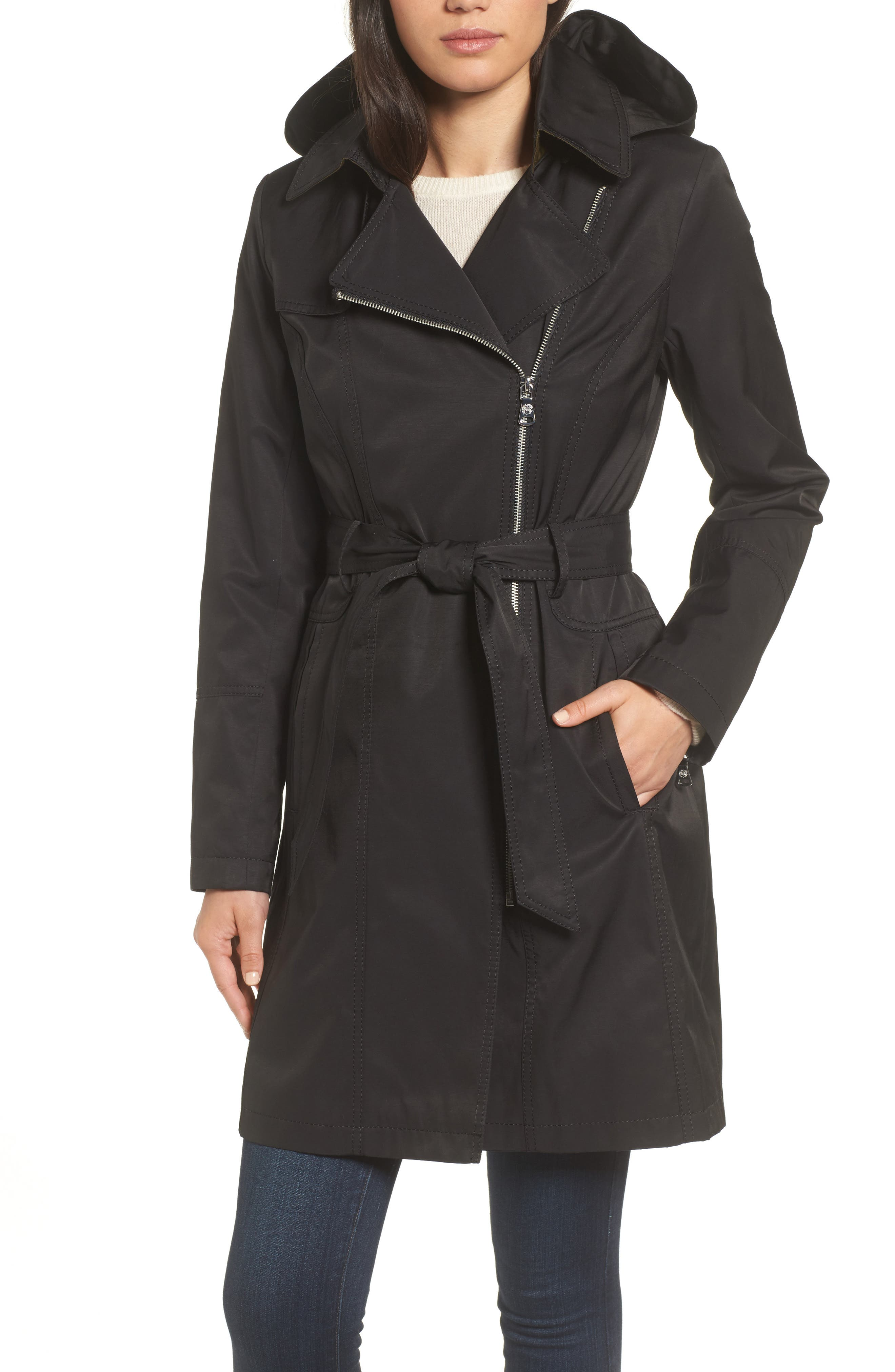 Belted Asymmetrical Trench Coat,                         Main,                         color,
