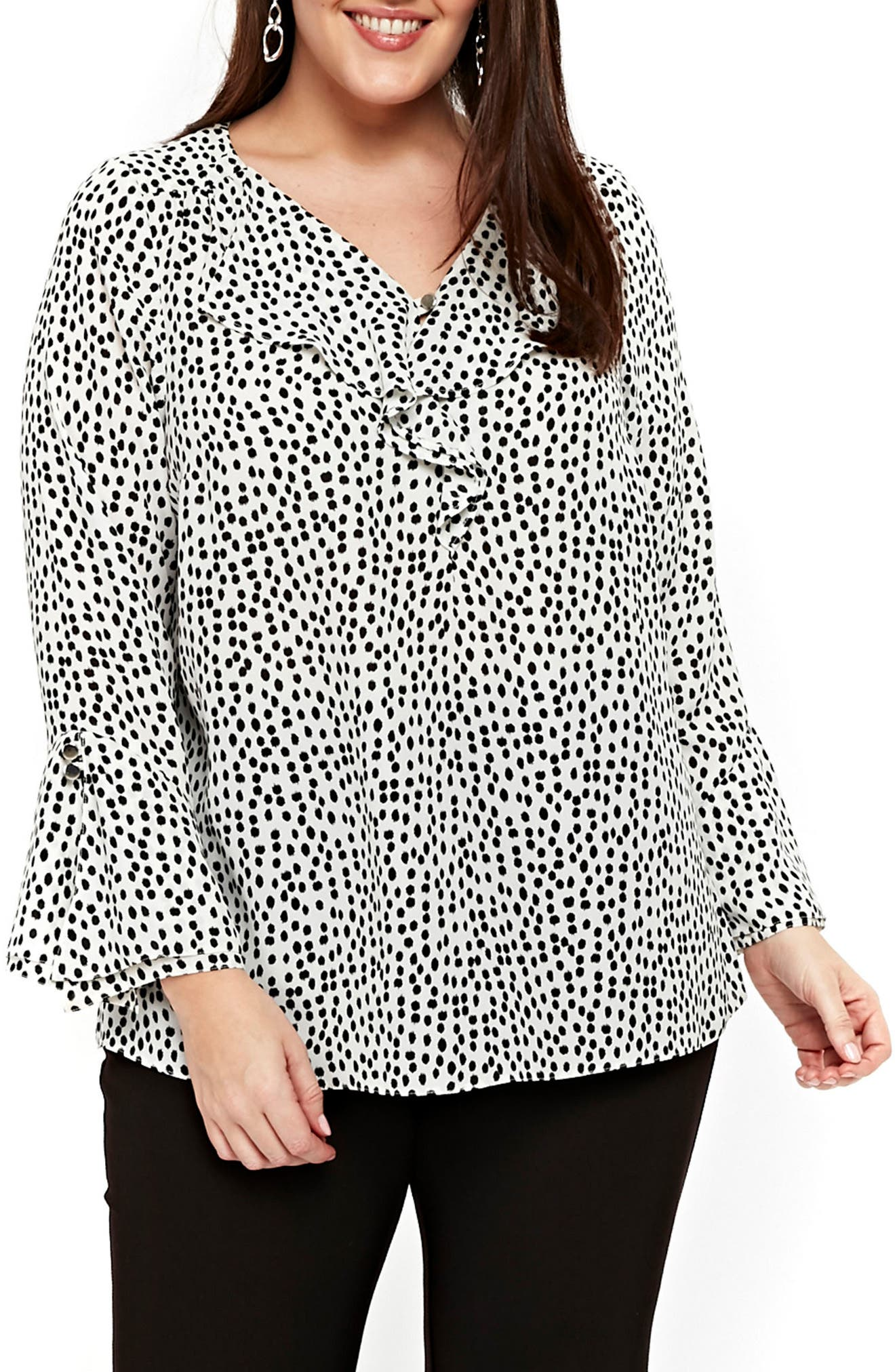 Print Ruffle Neck Bell Sleeve Top,                         Main,                         color, 100