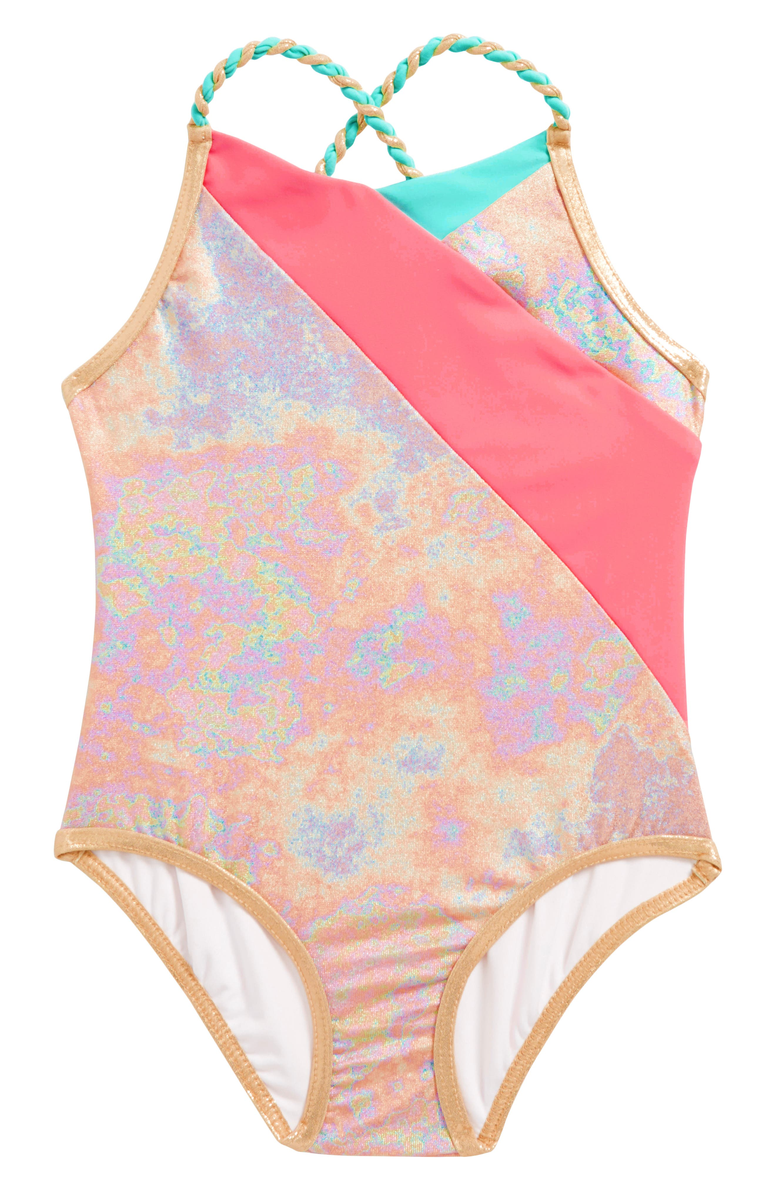 Iridescent One-Piece Swimsuit,                             Main thumbnail 1, color,                             660