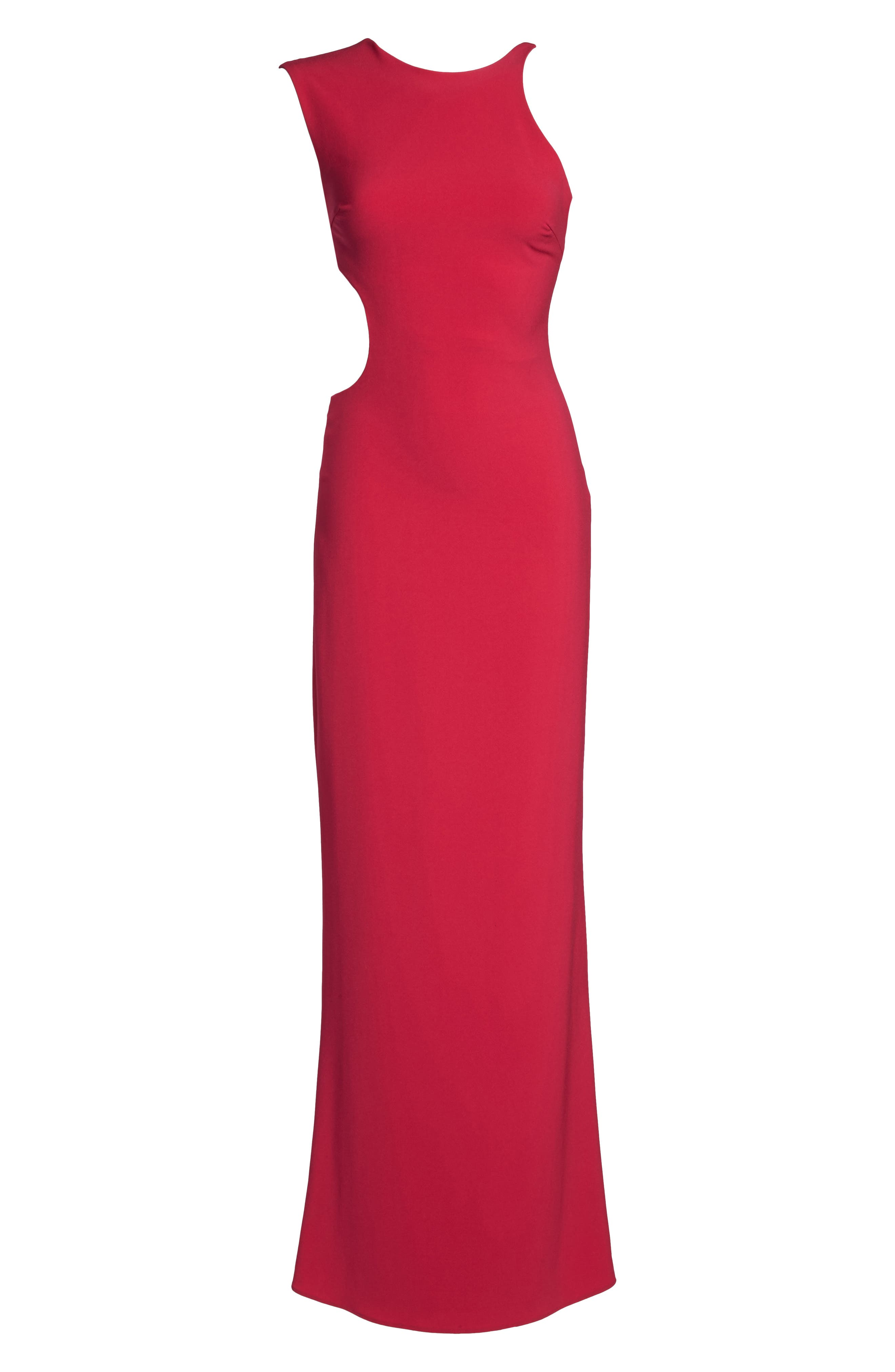 Asymmetrical Cutout Crepe Gown,                             Alternate thumbnail 6, color,                             665