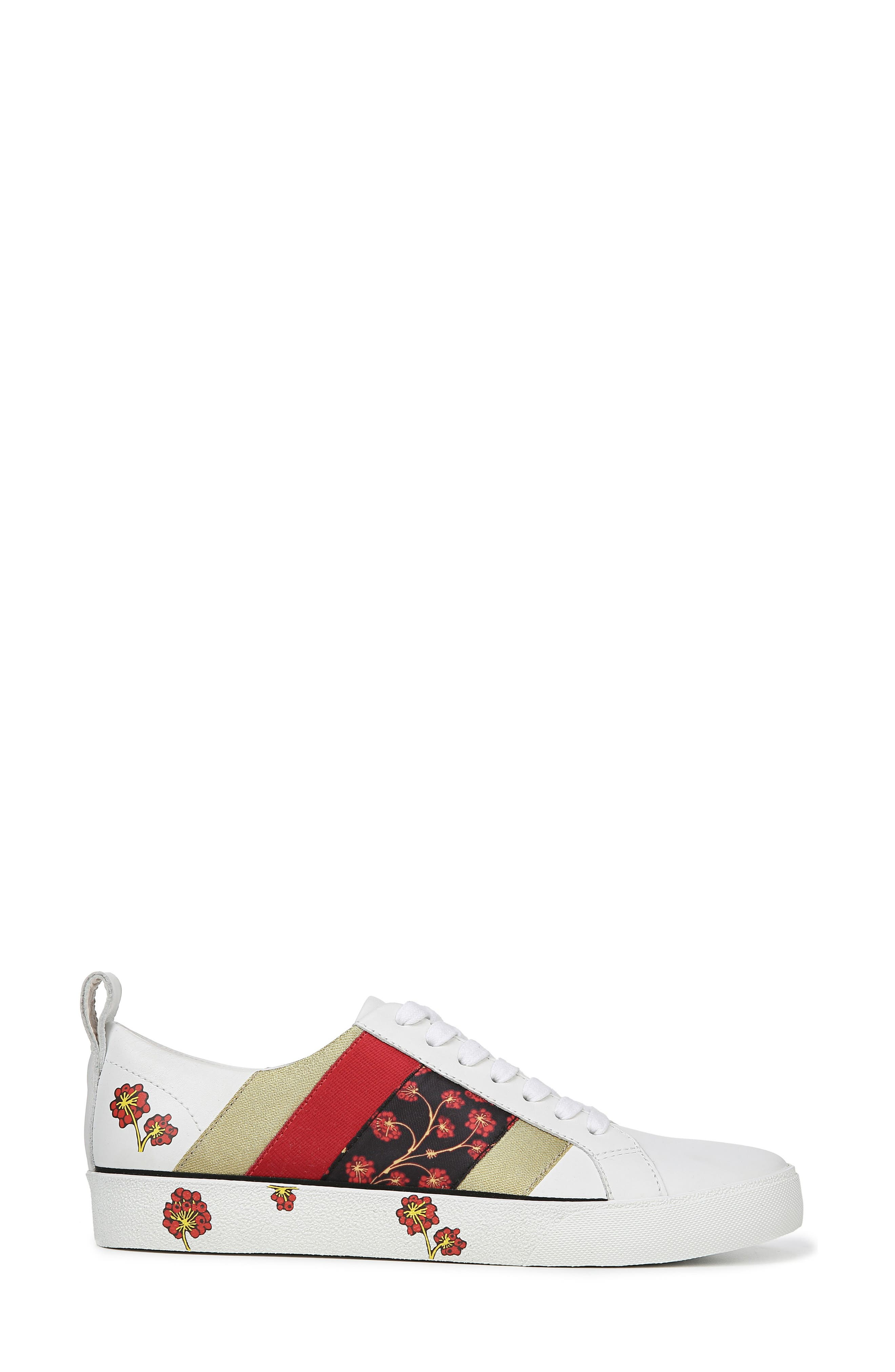 Tess Lace-Up Sneaker,                             Alternate thumbnail 3, color,                             WHITE/ RED