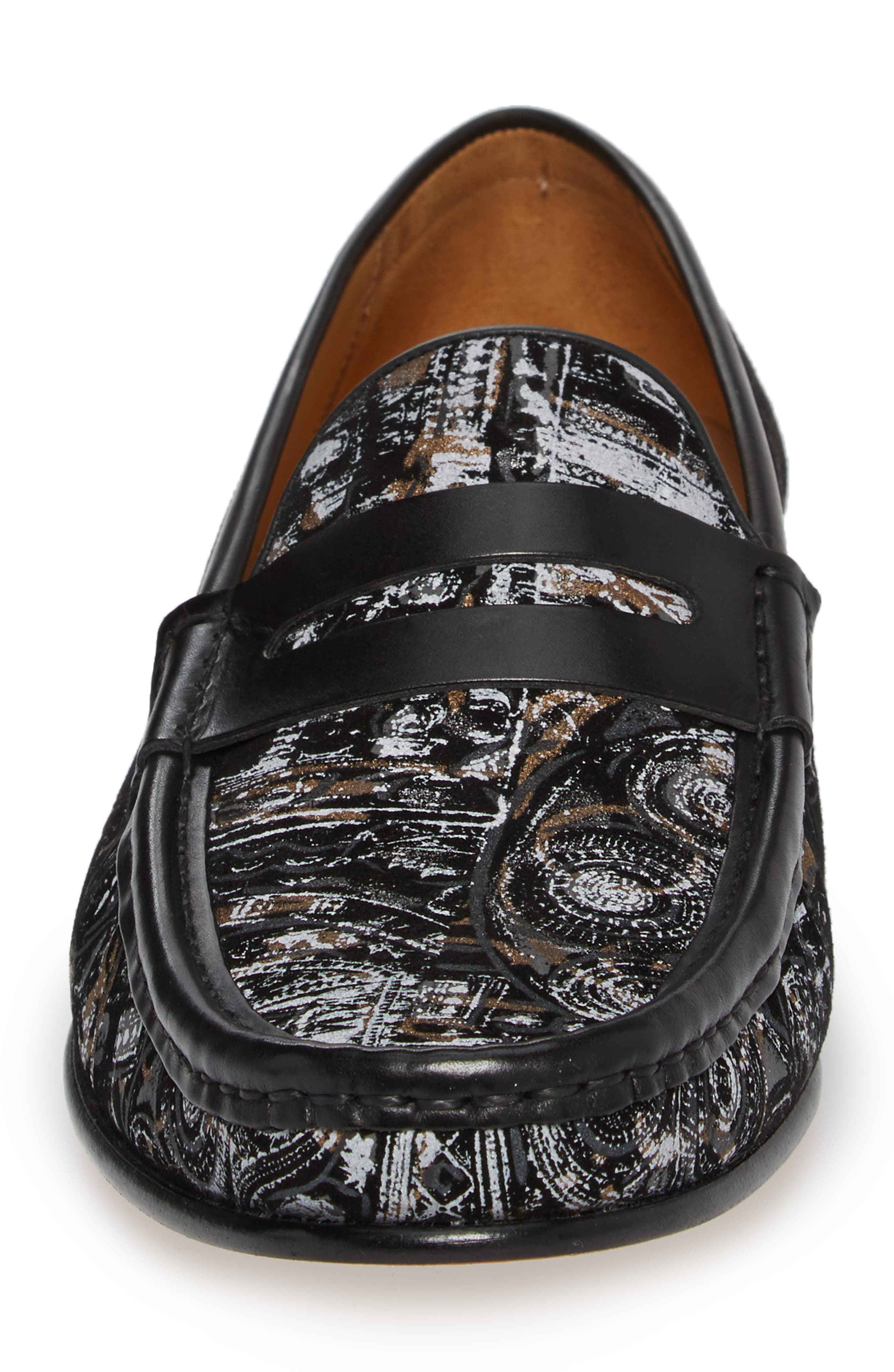 Laries II Penny Loafer,                             Alternate thumbnail 4, color,                             BLACK SUEDE/ LEATHER