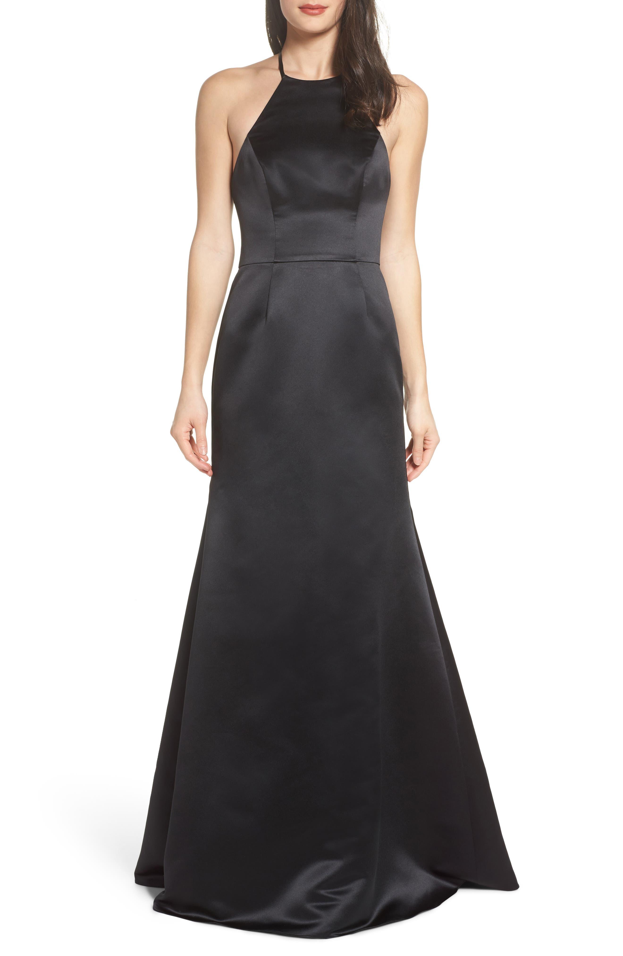 Satin A-Line Gown,                             Main thumbnail 1, color,                             BLACK