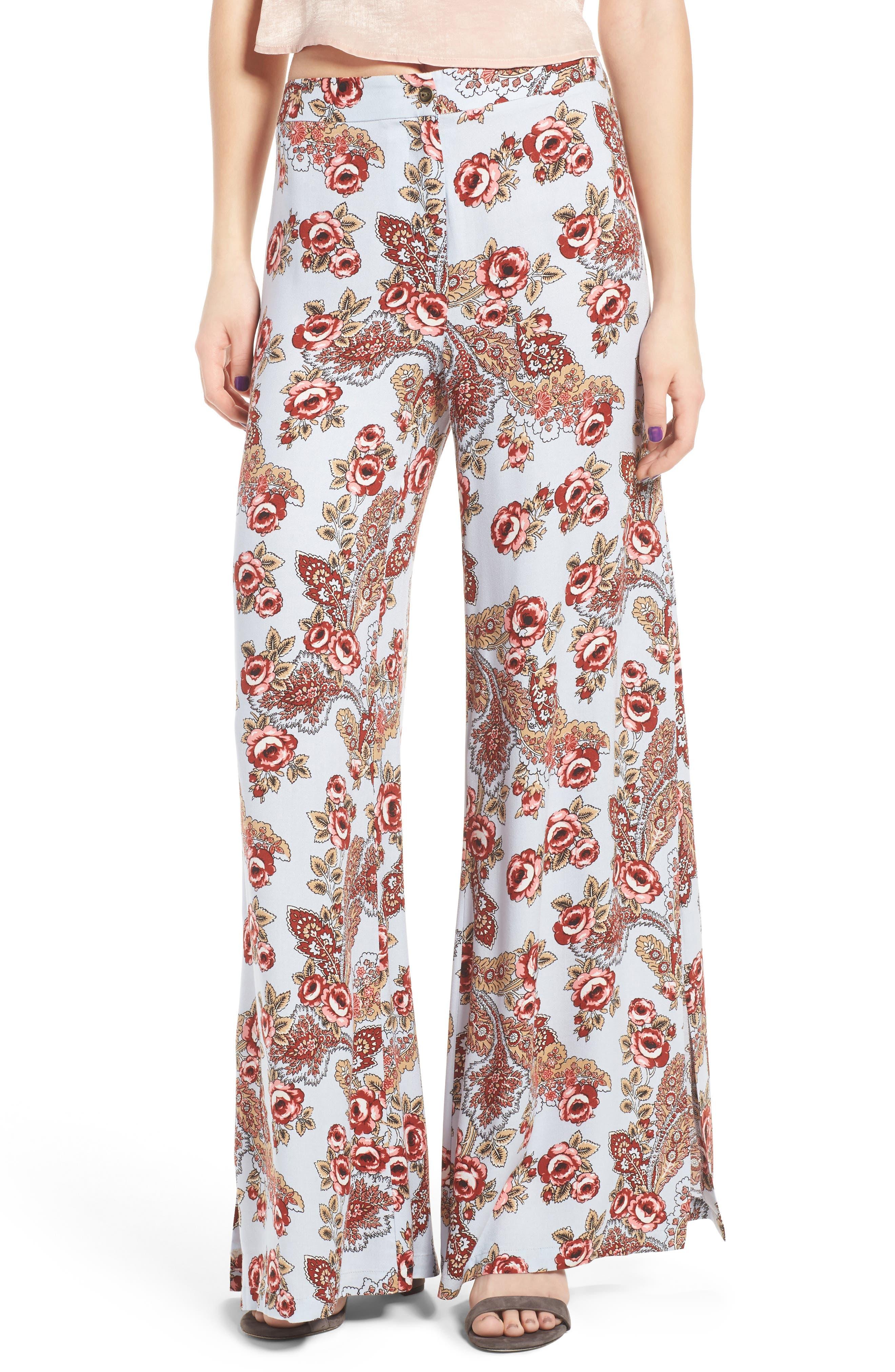 Side Slit Wide Leg Pants, Main, color, 456