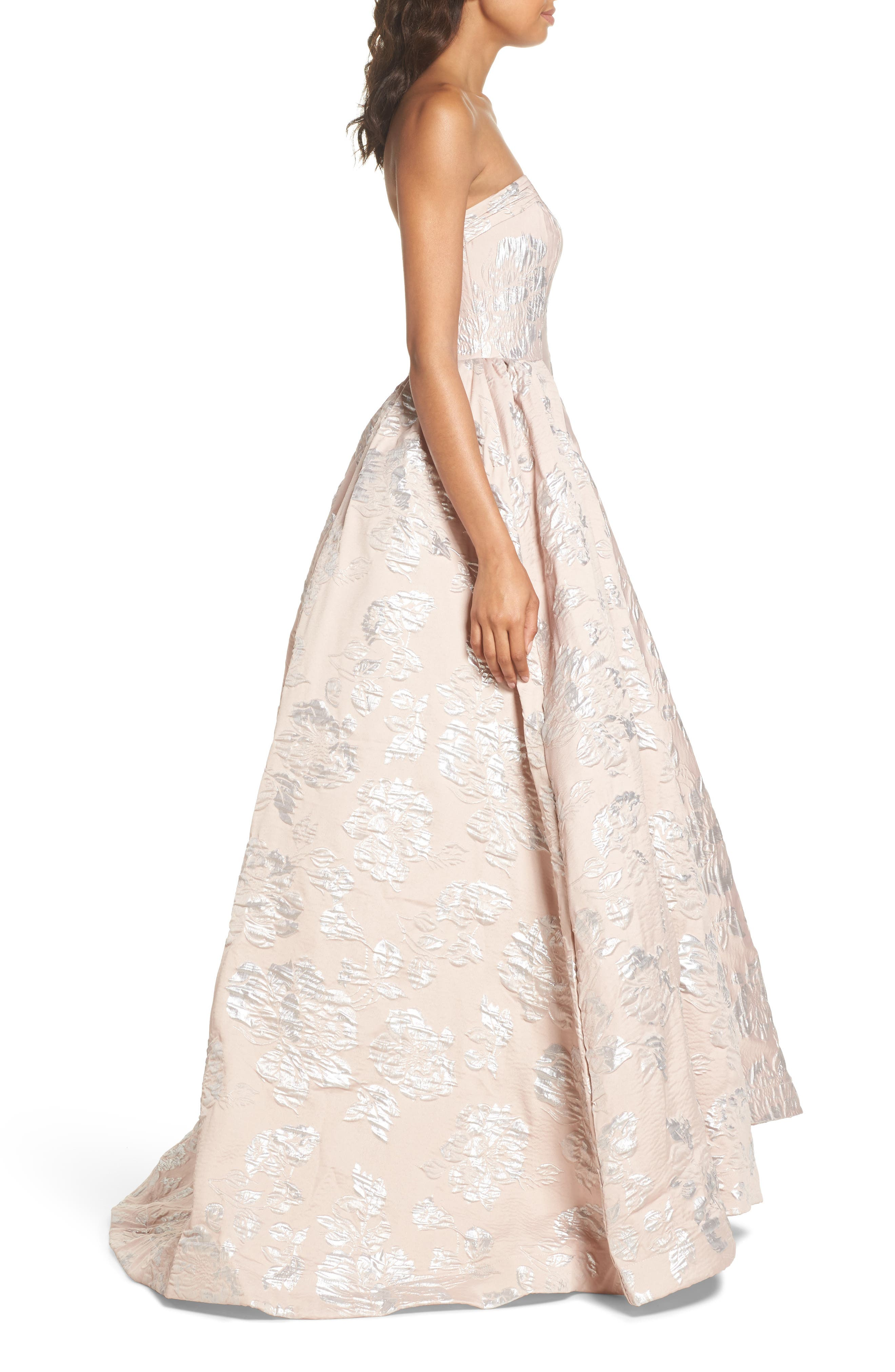 Brocade Bustier Gown,                             Alternate thumbnail 3, color,                             650