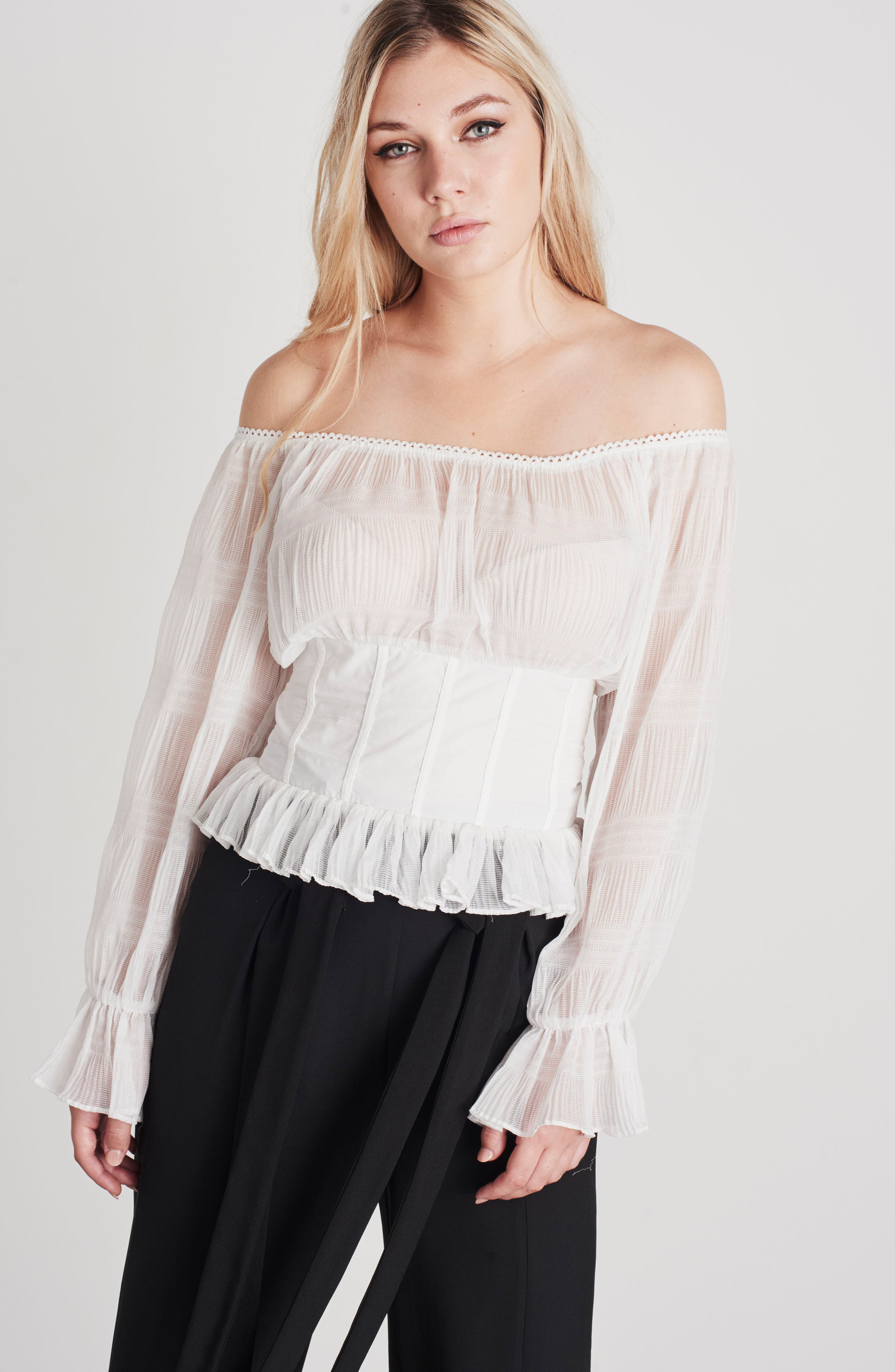 Date Night Off the Shoulder Chiffon Top,                             Alternate thumbnail 8, color,                             100