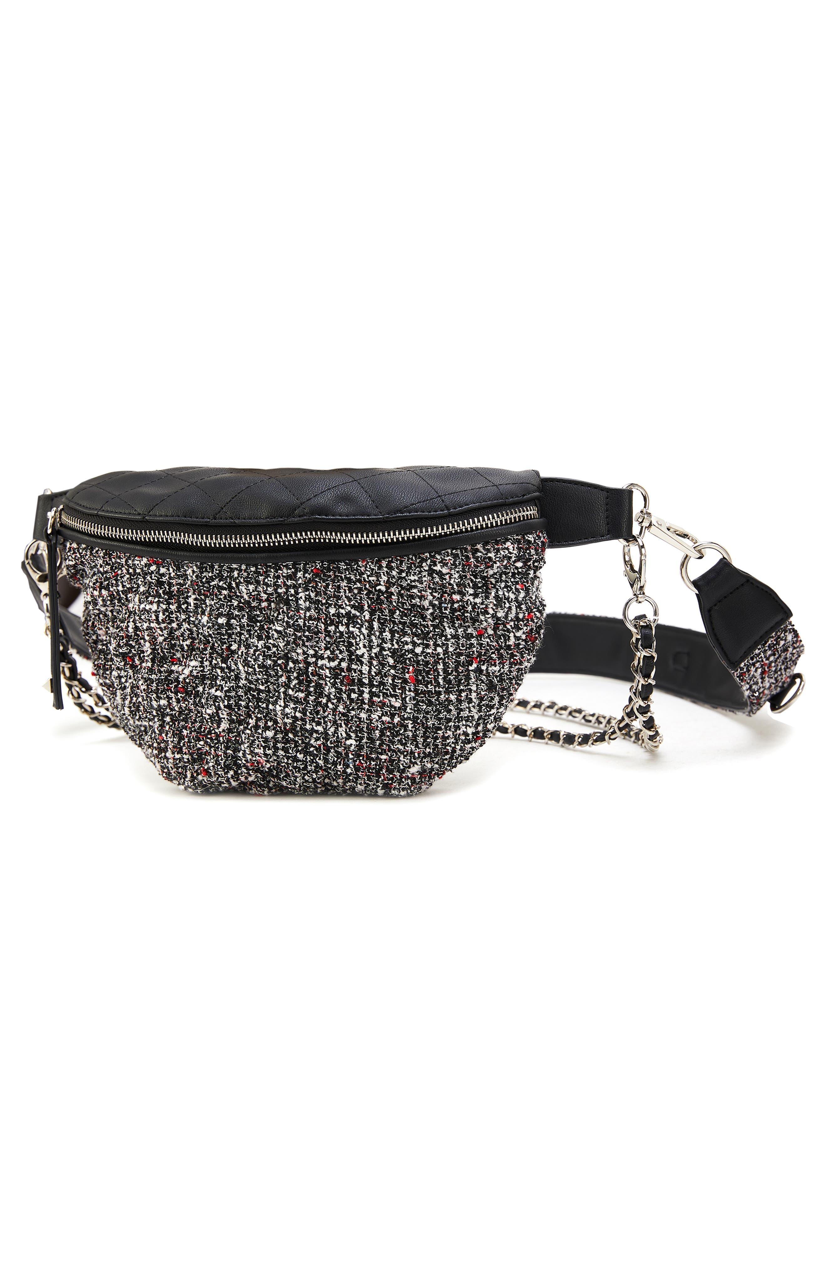 Tweed Belt Bag,                             Alternate thumbnail 4, color,                             BLACK