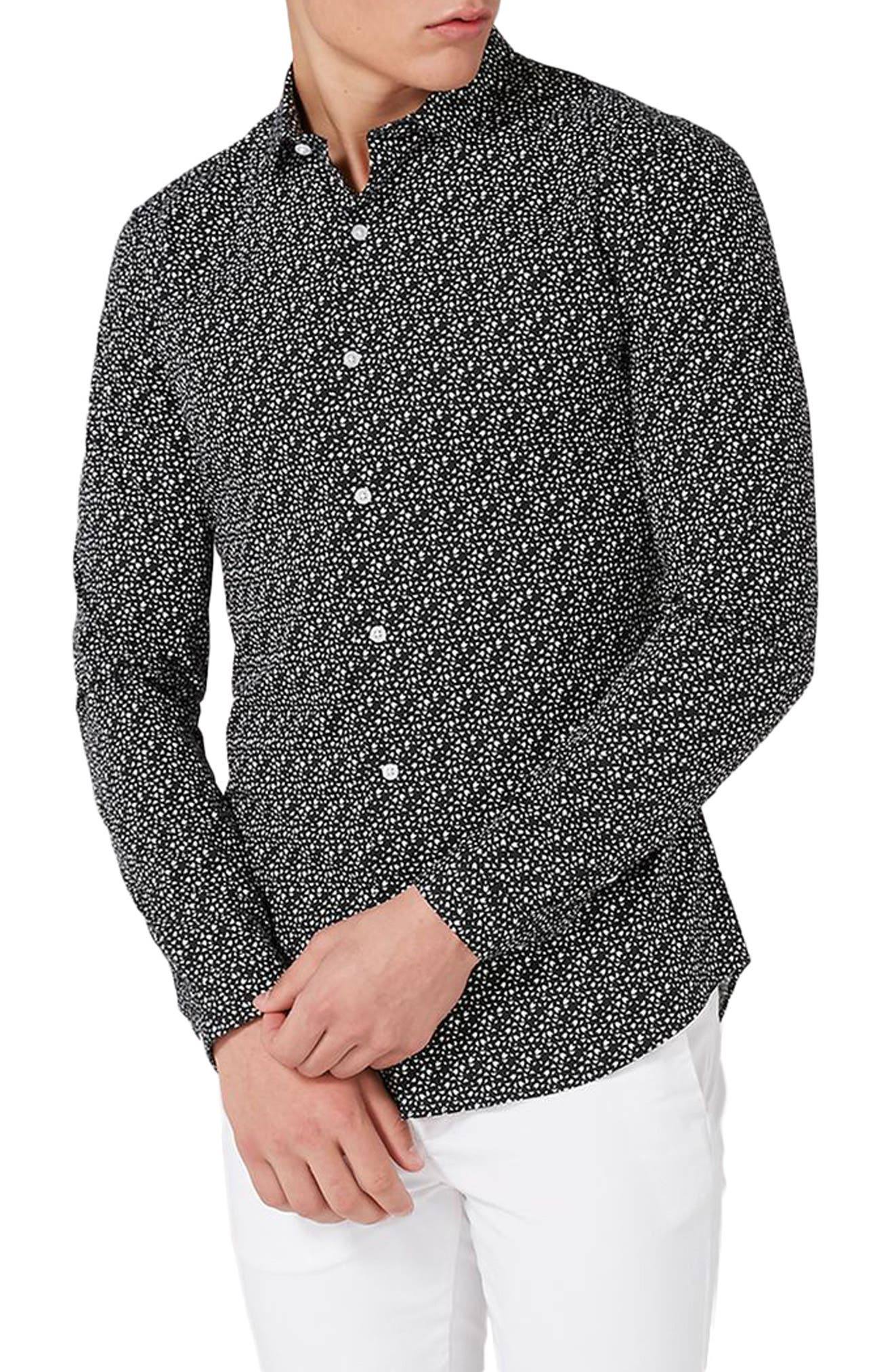 Skinny Fit Geo Print Stretch Woven Shirt,                             Main thumbnail 1, color,                             002