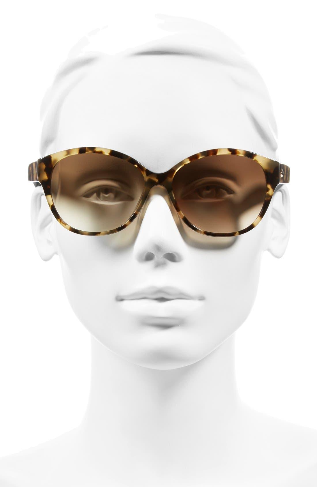 'kiersten' 56mm cat eye sunglasses,                             Alternate thumbnail 2, color,                             CAMEL TORTOISE