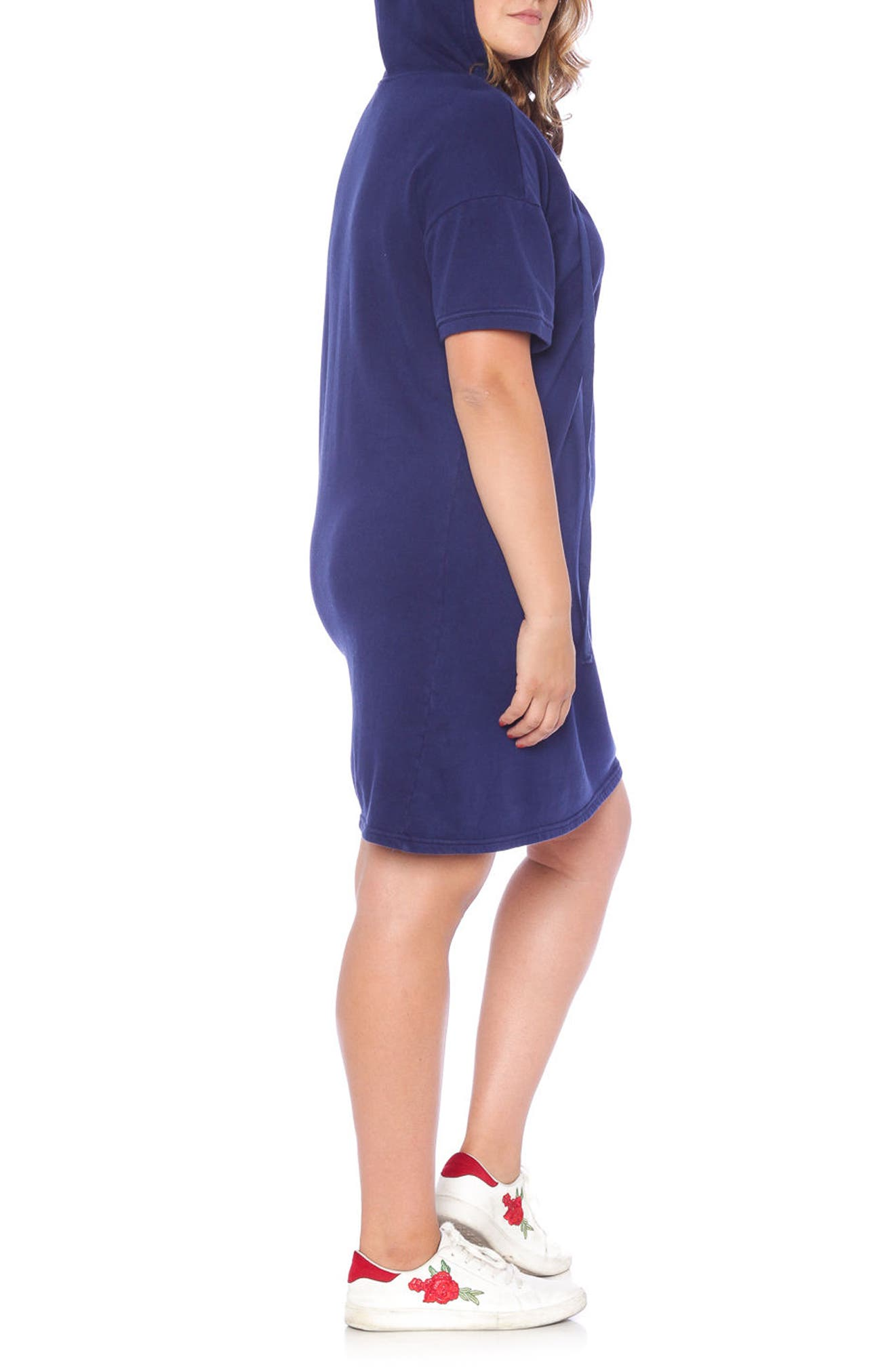 Lace-Up Hoodie Dress,                             Alternate thumbnail 5, color,                             NAVY