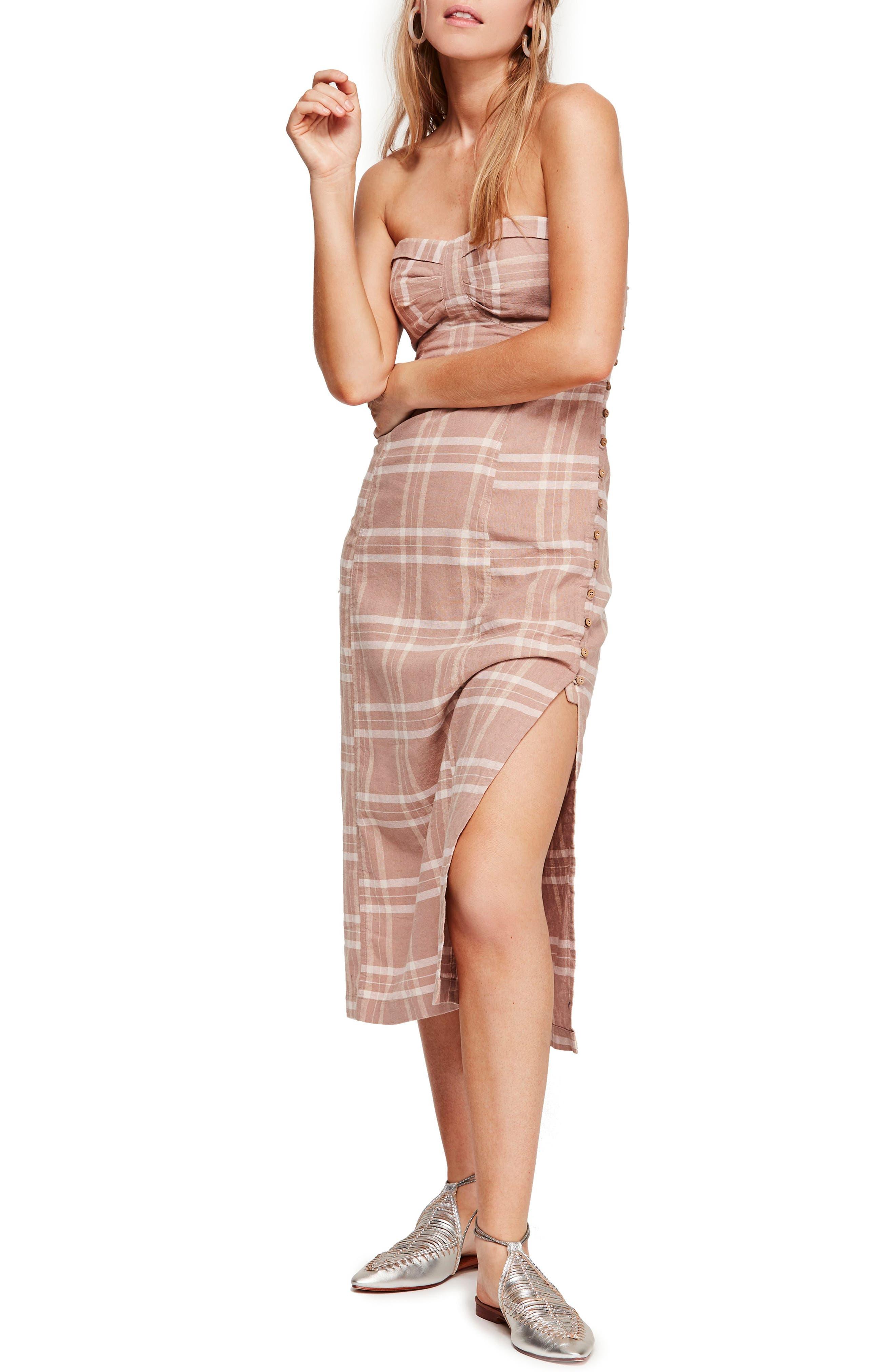Free People Life Like This Strapless Midi Dress, Beige