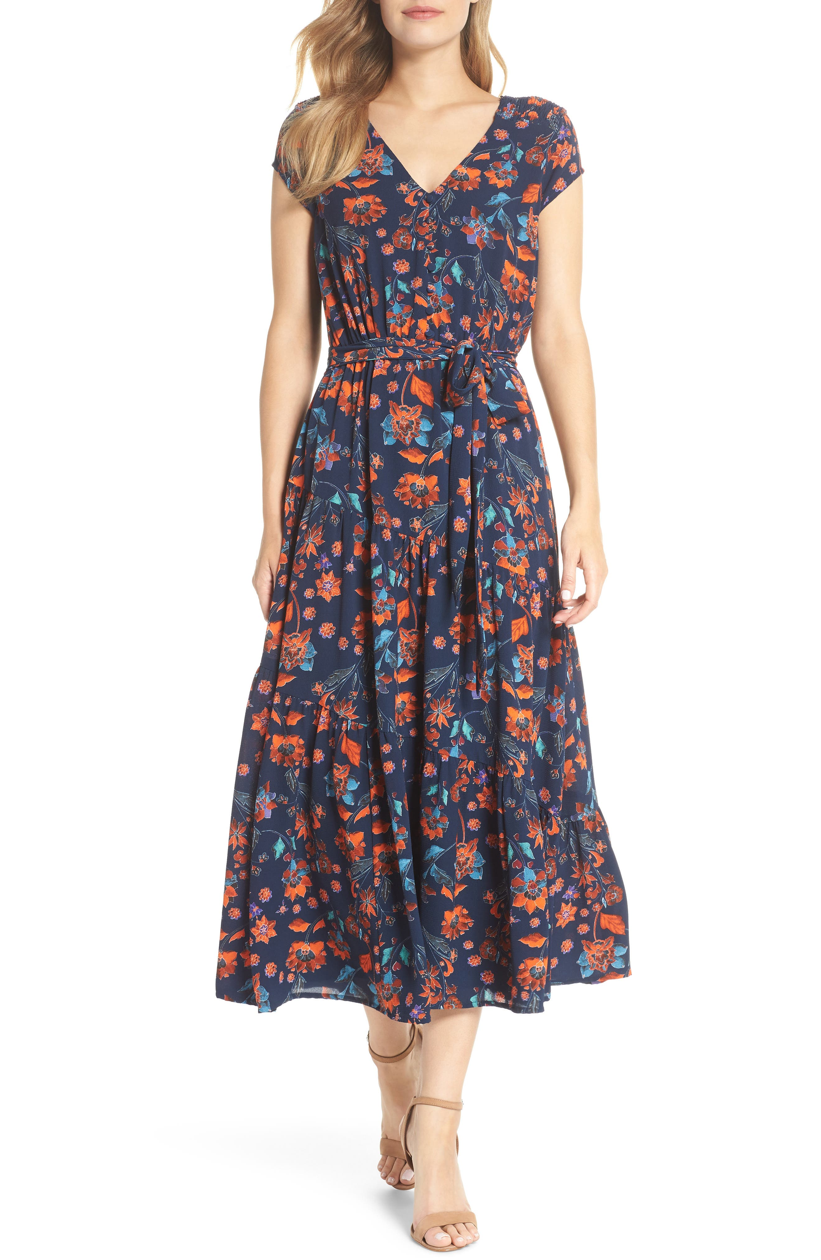 Smock Shoulder Floral Crepe Midi Dress,                             Main thumbnail 1, color,                             NAVY/ RED