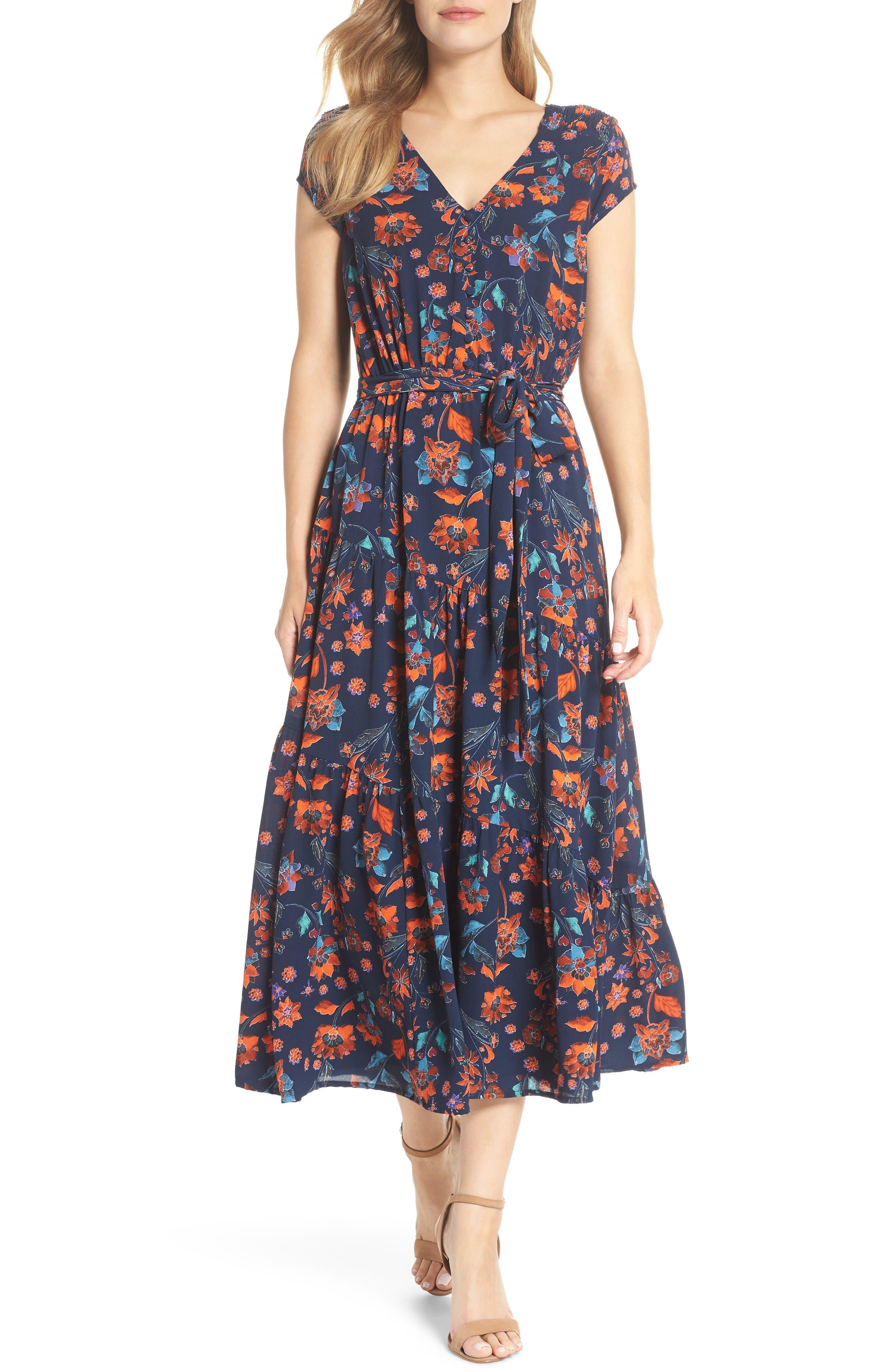 Smock Shoulder Floral Crepe Midi Dress,                         Main,                         color, NAVY/ RED
