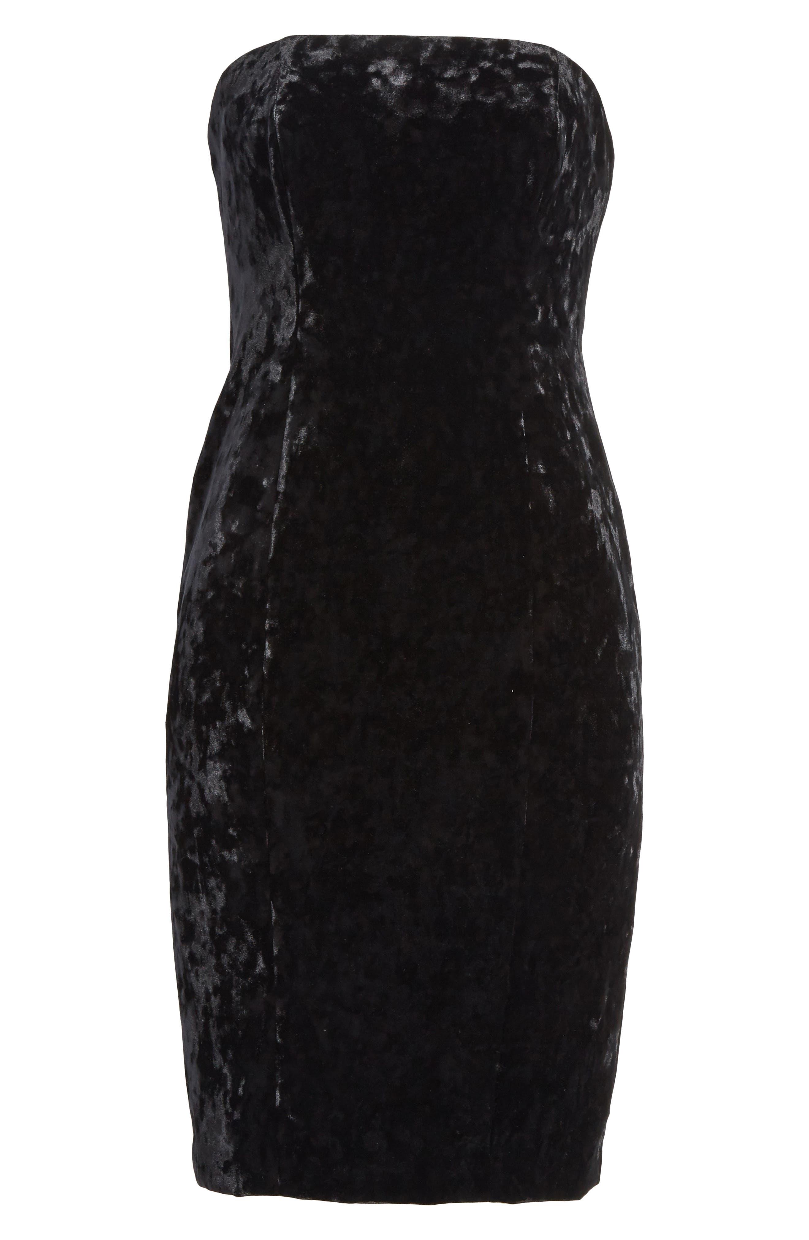 Strapless Velvet Dress,                             Alternate thumbnail 6, color,                             001