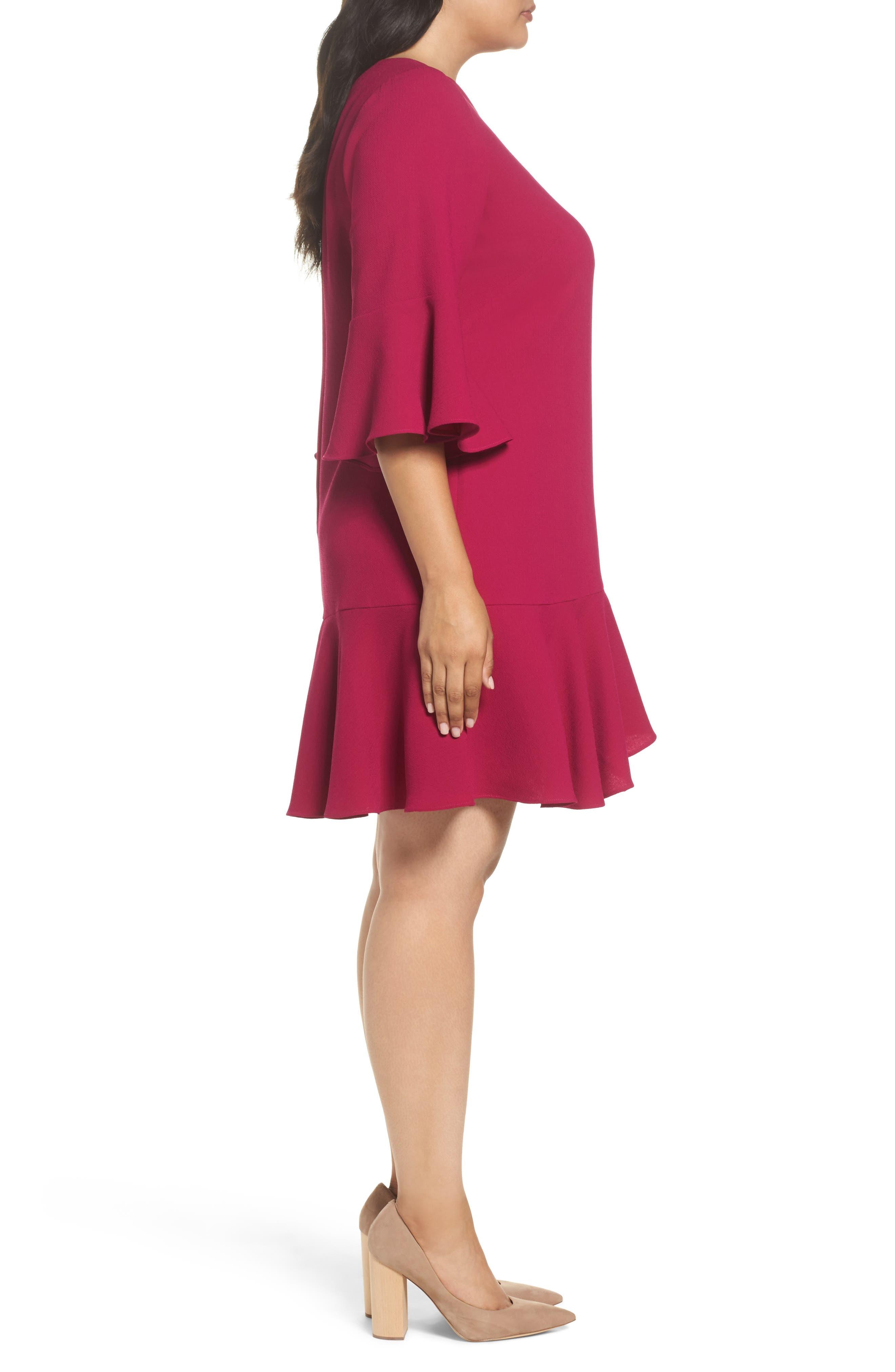 Ruffled Flounce A-Line Dress,                             Alternate thumbnail 3, color,                             678