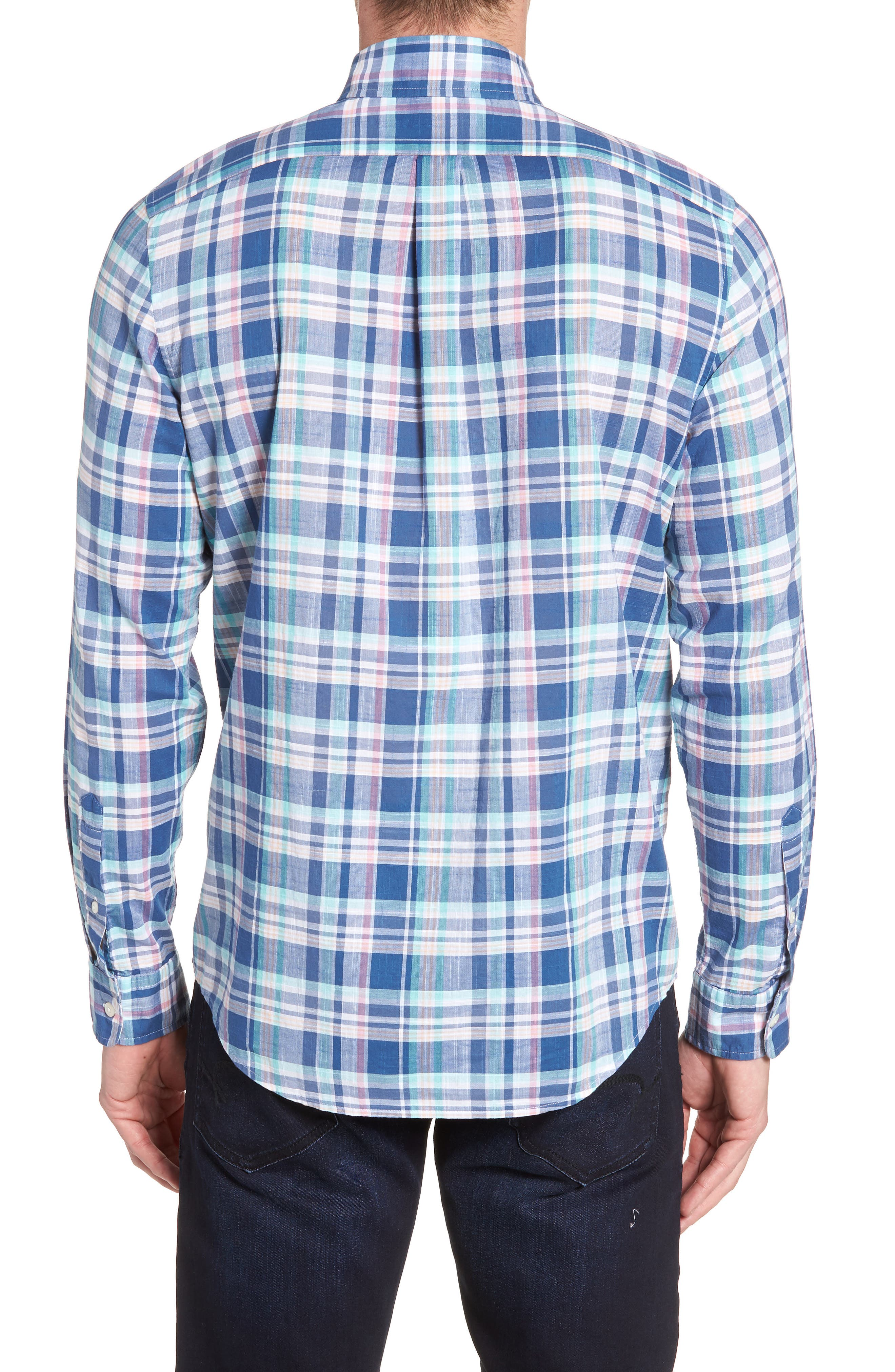 Primrose Plaid Slim Fit Tucker Sport Shirt,                             Alternate thumbnail 2, color,                             FLAG BLUE