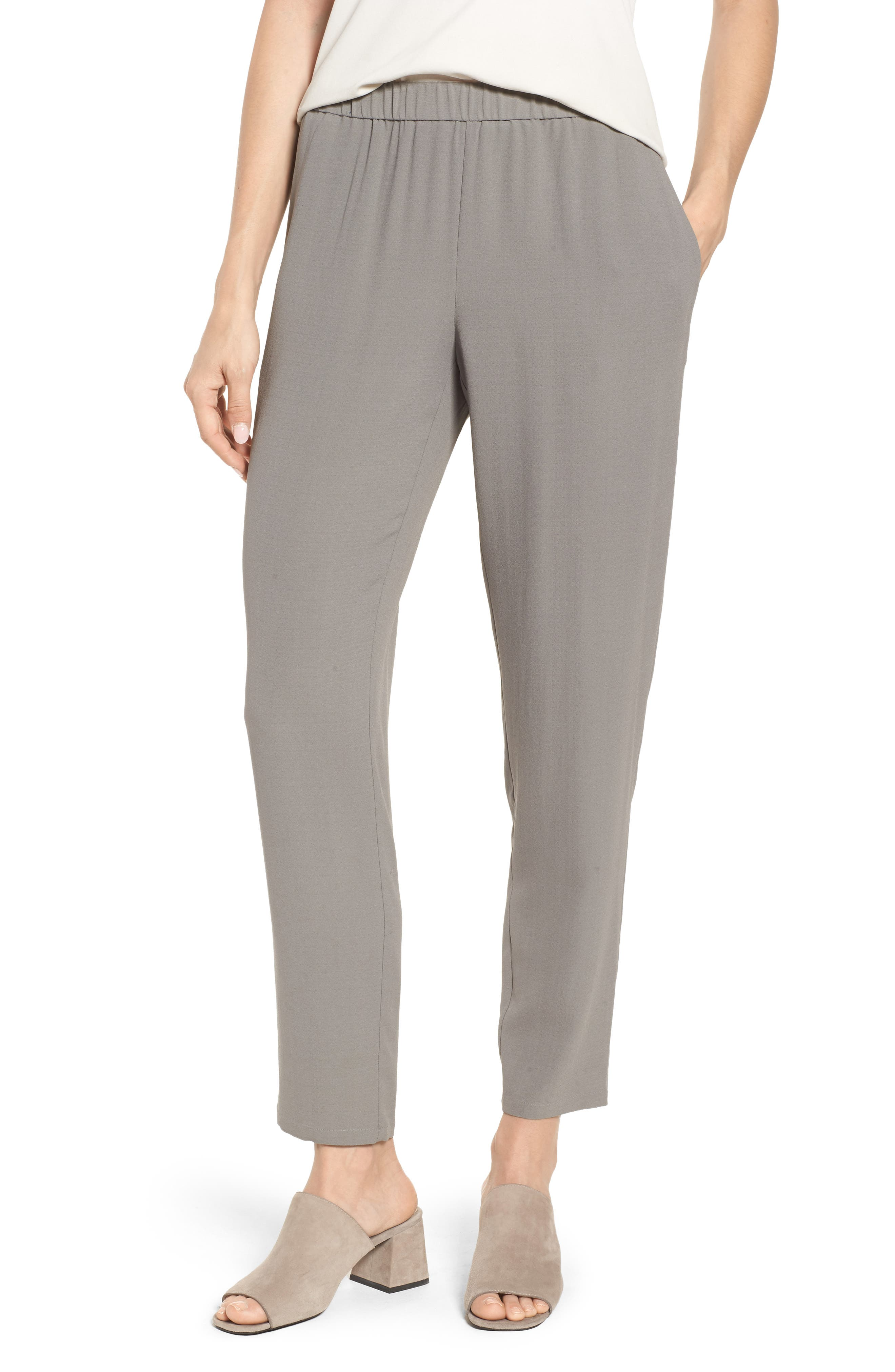 Slouchy Silk Crepe Ankle Pants,                             Main thumbnail 1, color,