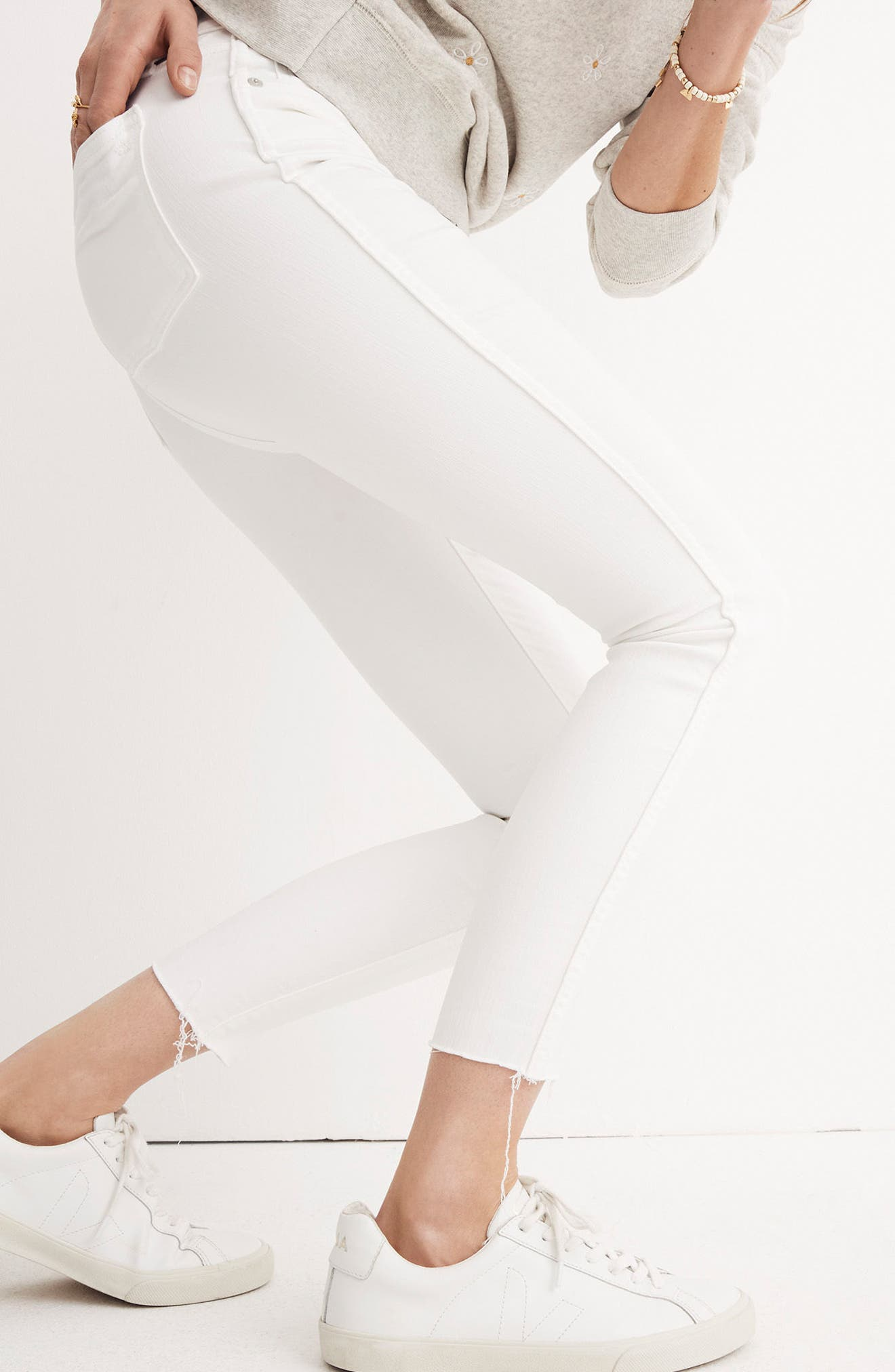 10-Inch Button High Waist Crop Skinny Jeans,                             Alternate thumbnail 8, color,                             PURE WHITE