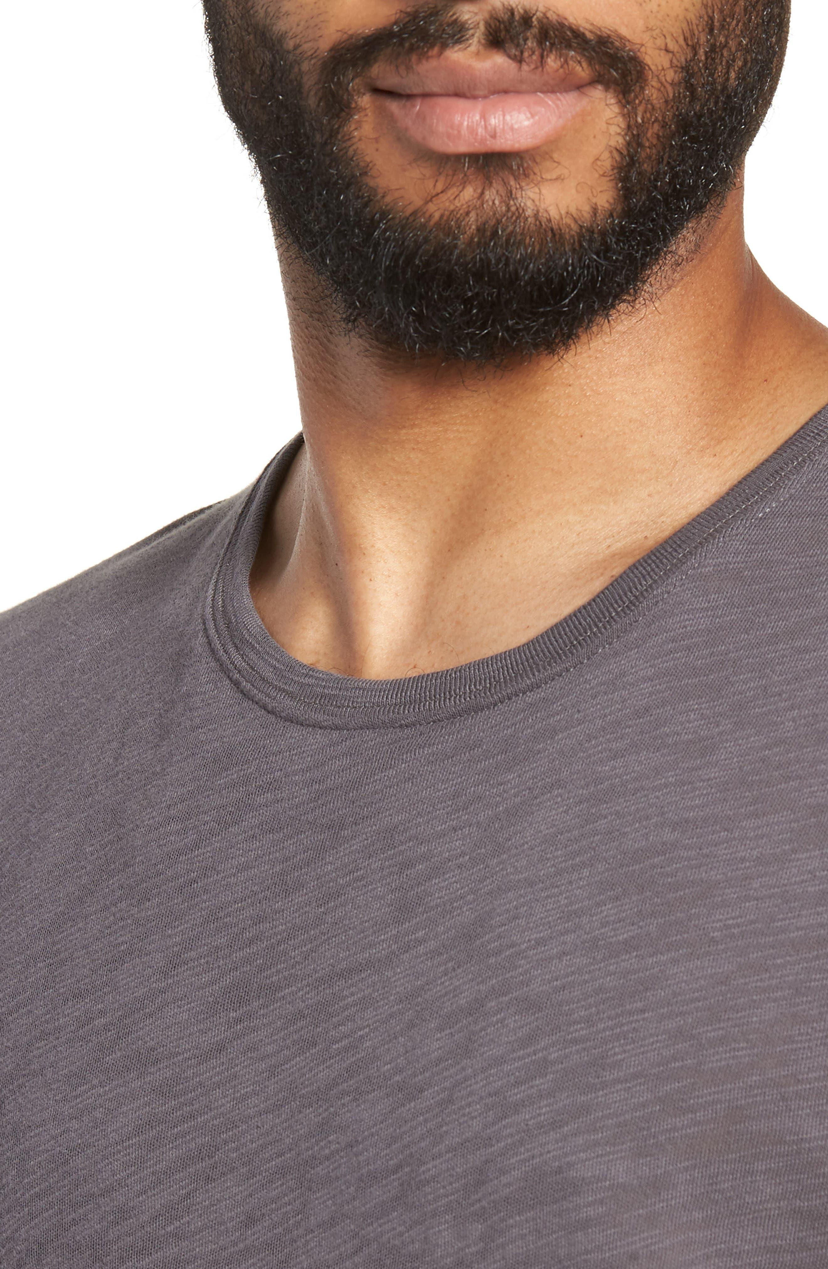 Crewneck T-Shirt,                             Alternate thumbnail 4, color,                             CHARCOAL