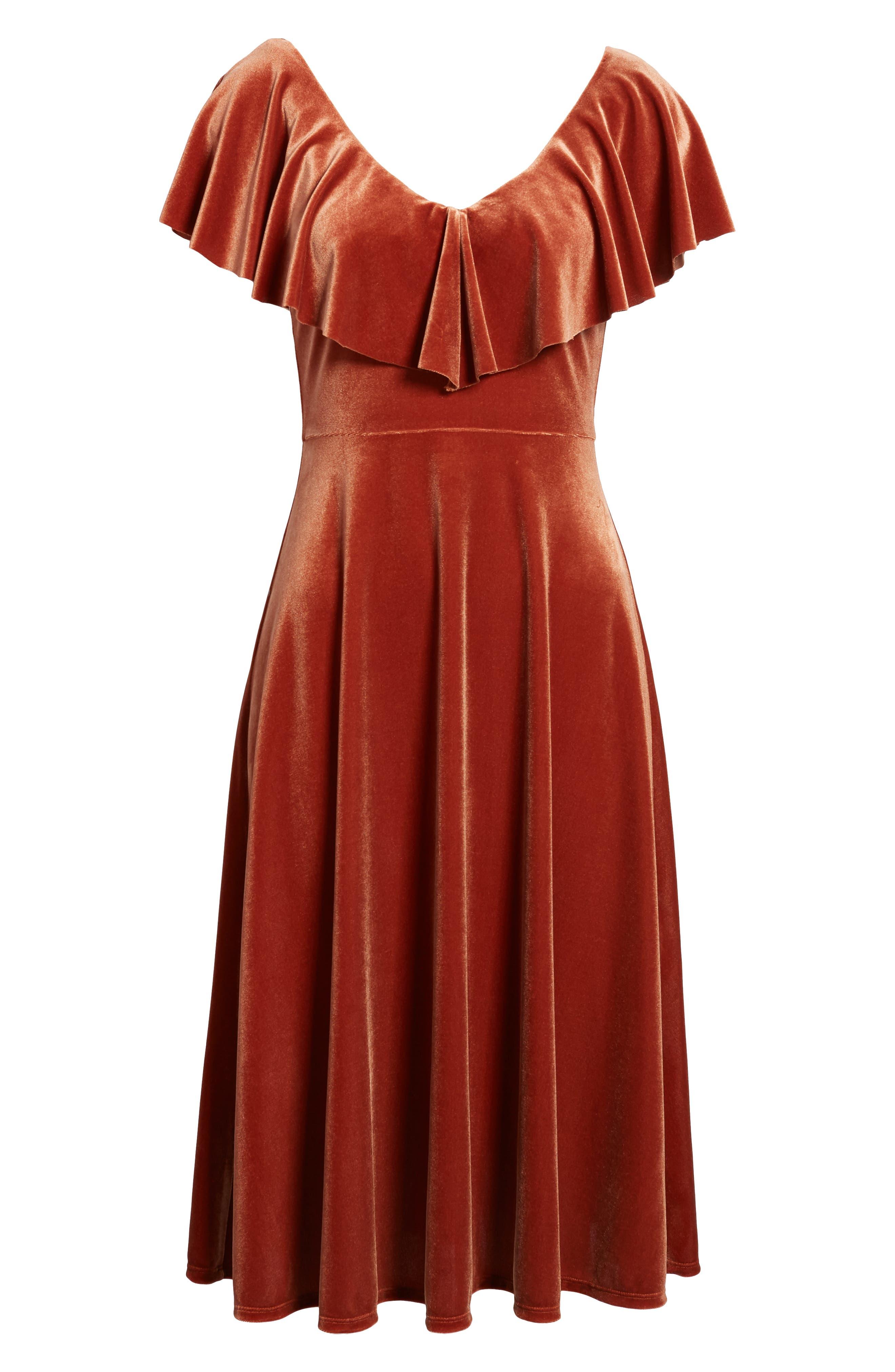 Ruffle Midi Dress,                             Alternate thumbnail 7, color,                             205