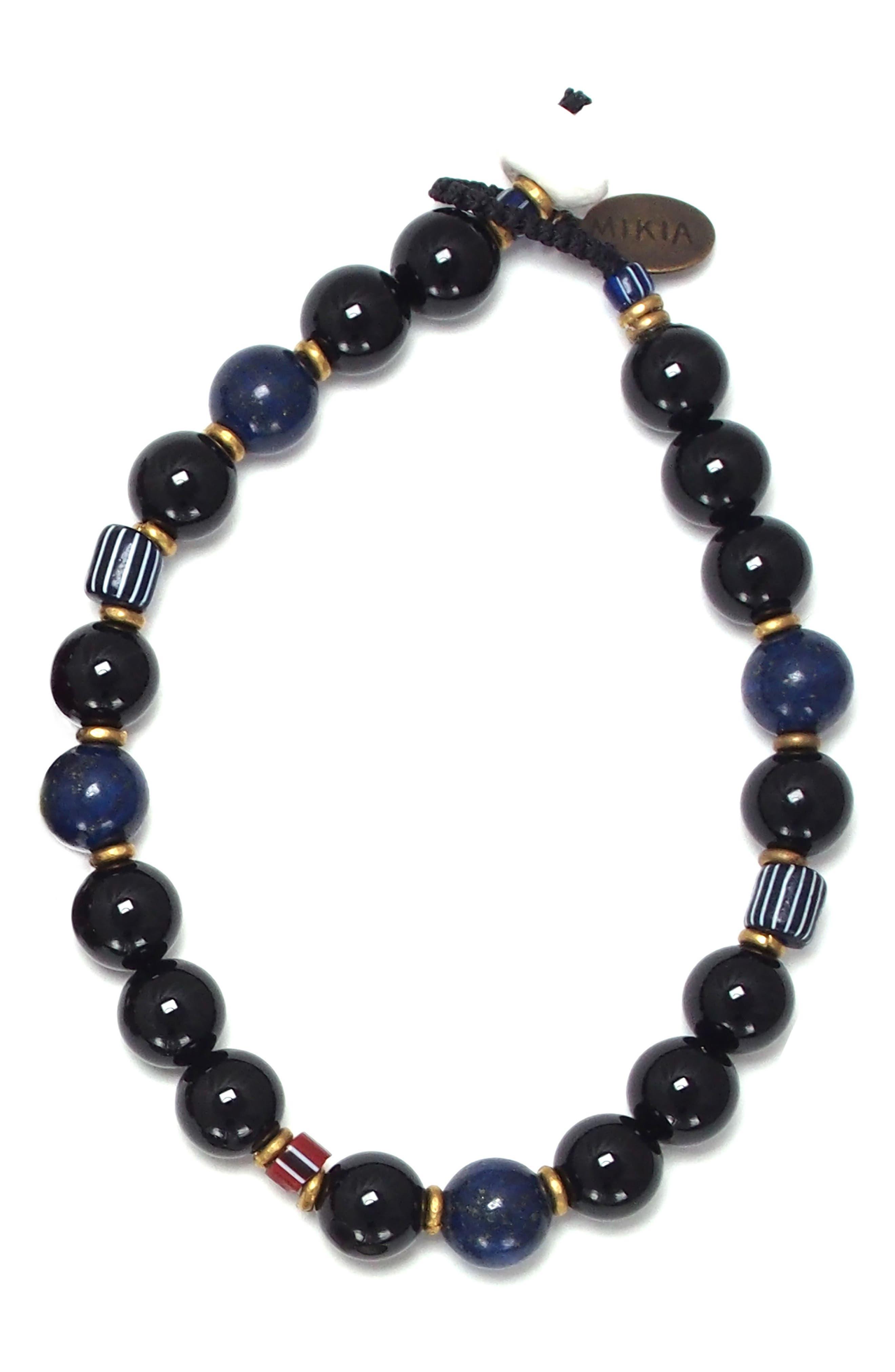 Stone Bead Bracelet,                             Main thumbnail 1, color,                             RAINBOW OBSIDIAN/ LAPIS