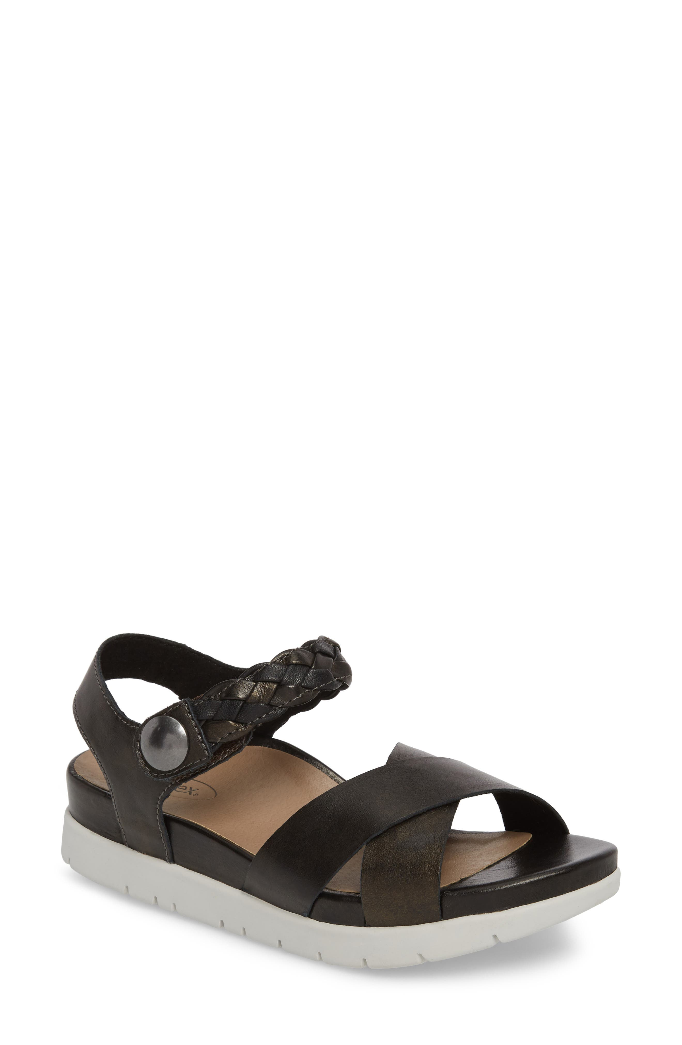 Piper Sandal,                         Main,                         color, BLACK LEATHER