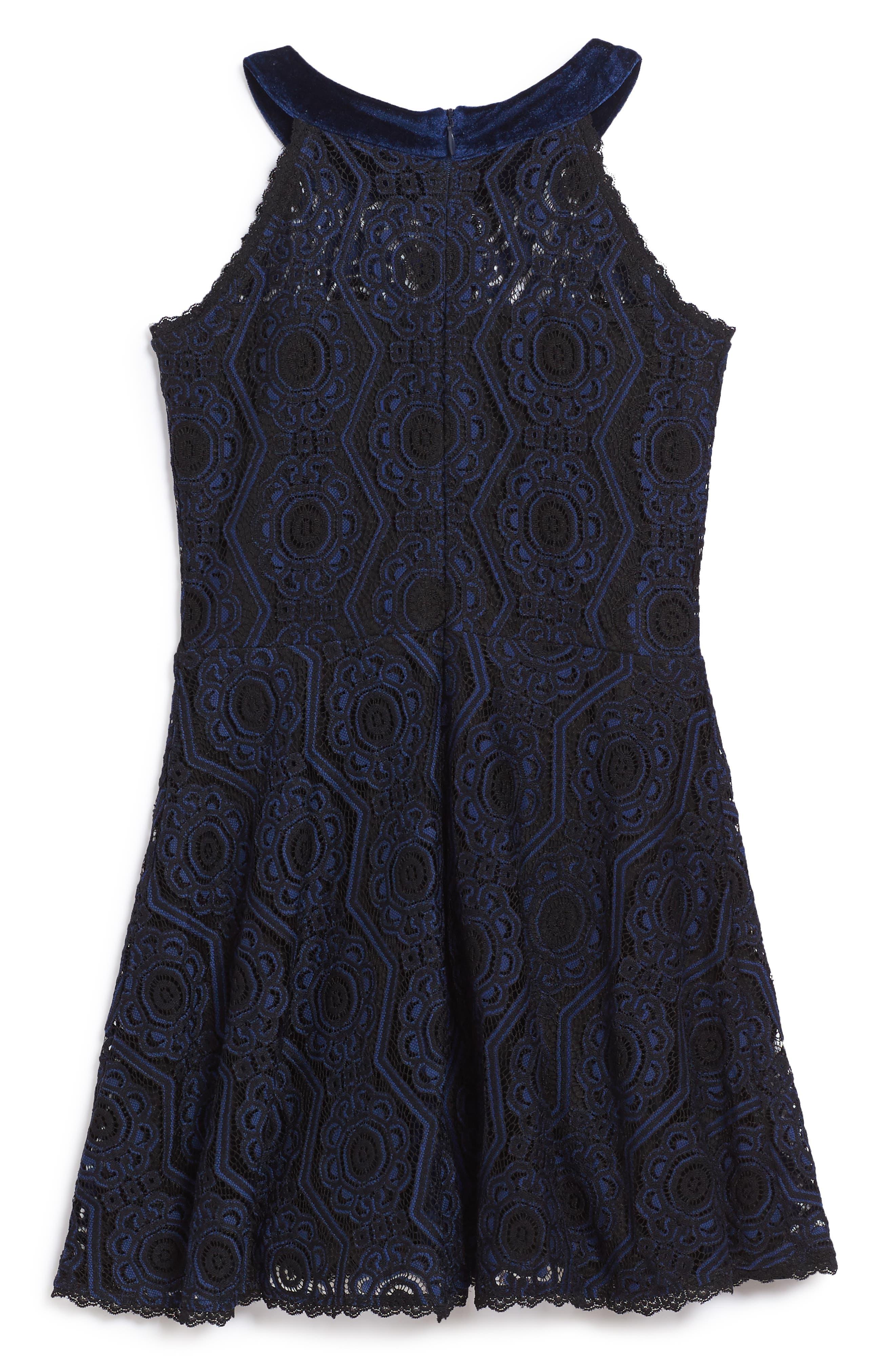 Lace Skater Dress,                             Alternate thumbnail 2, color,                             410