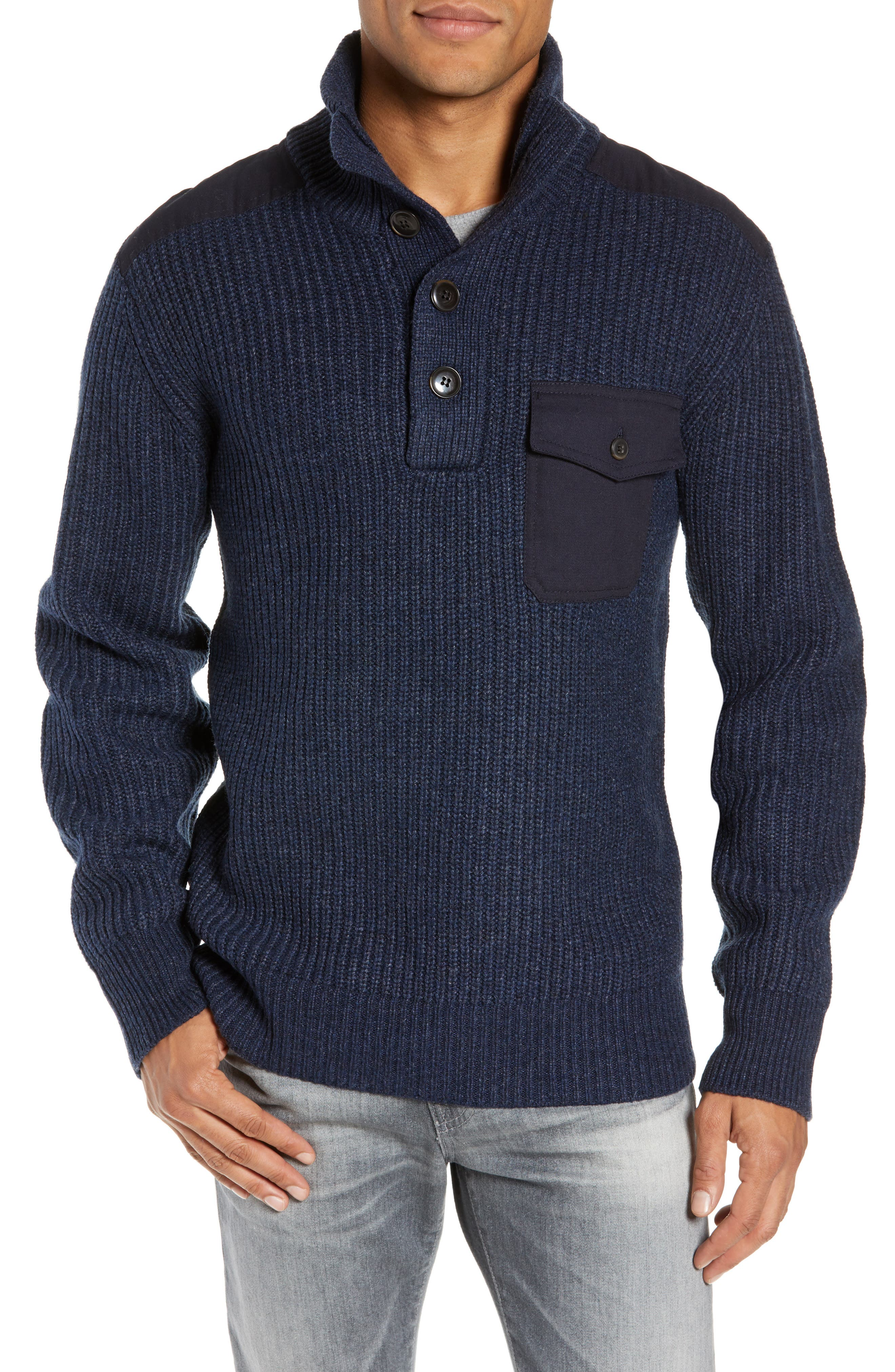 Schott Nyc Wool Blend Military Sweater, Blue